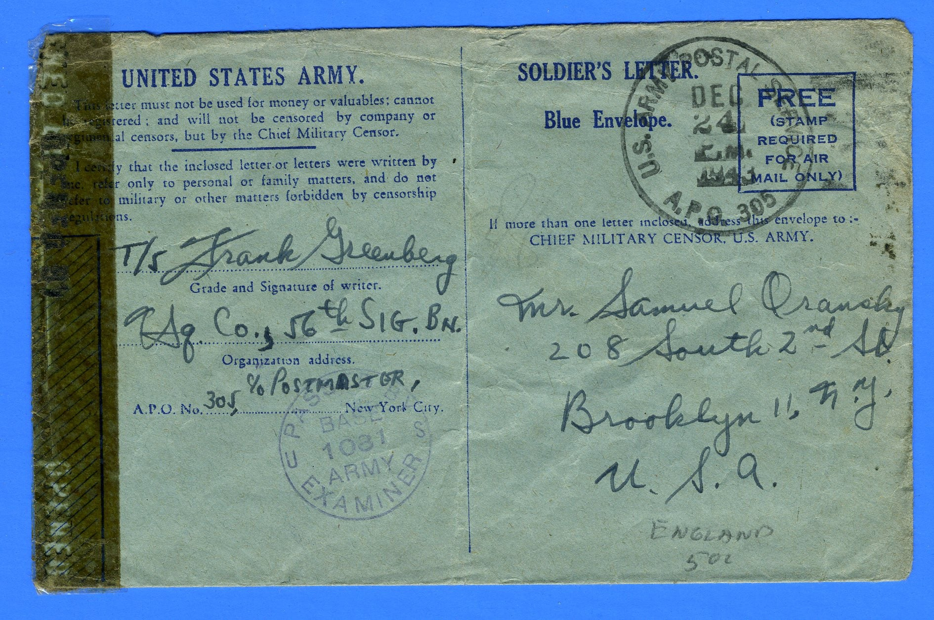 "Soldier's ""Free"" Censored Mail APO 305 Taunton, England December 24, 1943"