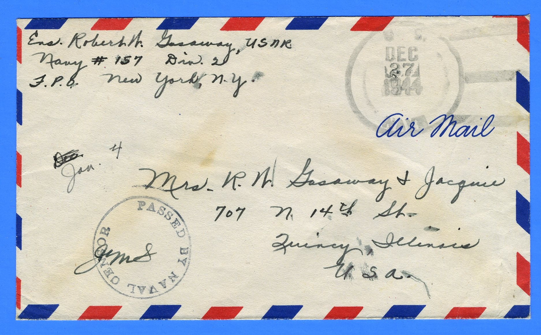 "Sailor's Censored ""Free"" Mail Navy #157 Palermo, Sicily December 27, 1944"