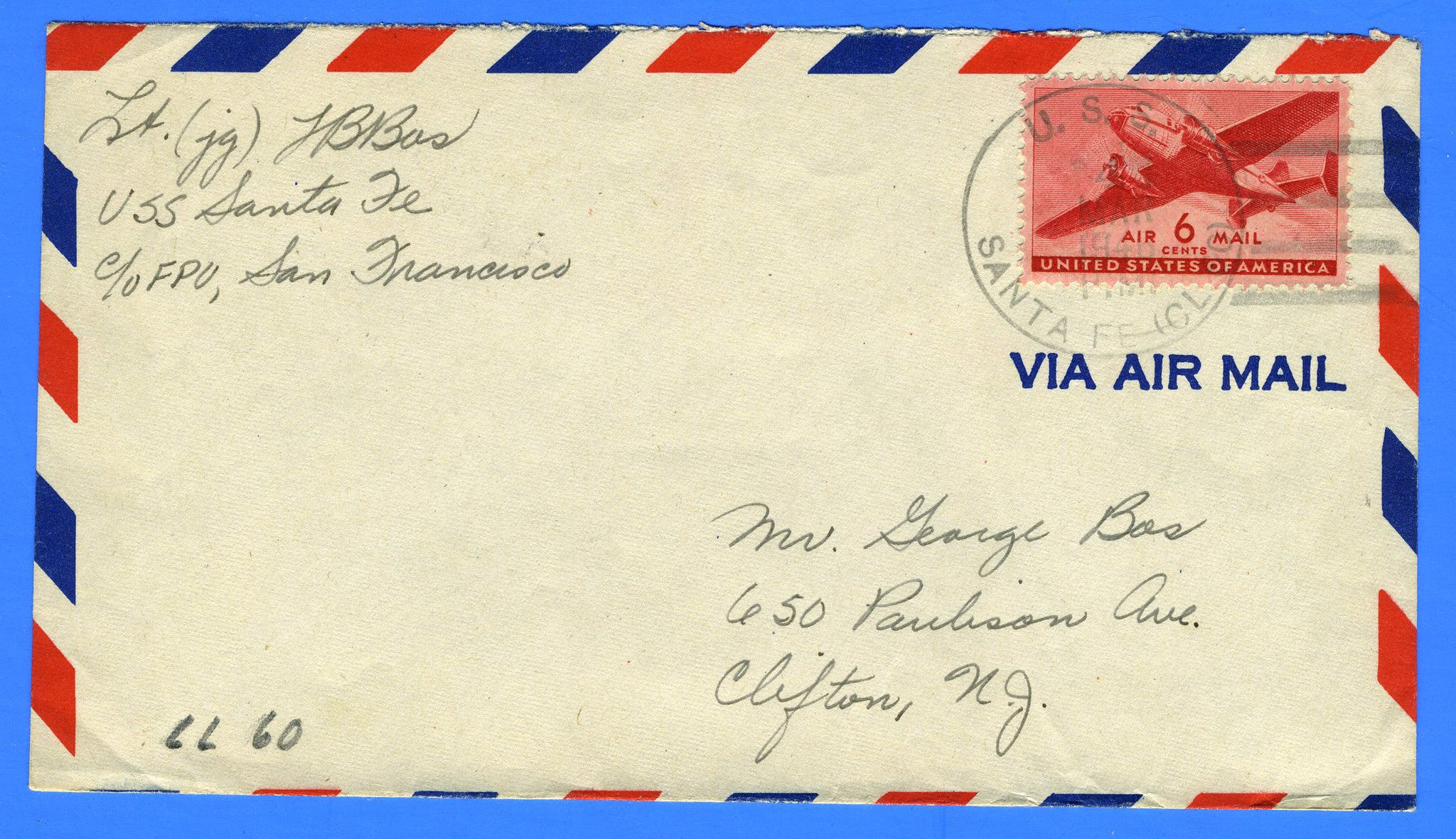 USS Santa Fe CL-60 Sailor's Mail March 4, 1946