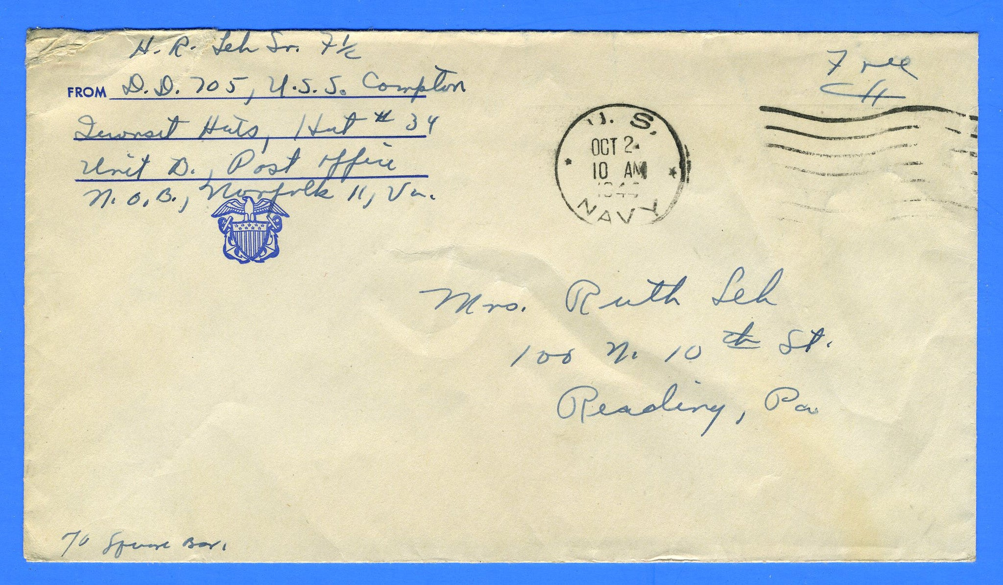 "USS Compton DD-705 Sailor's ""Free"" Mail October 2, 1944 - Prior to Commission on November 4, 1944"