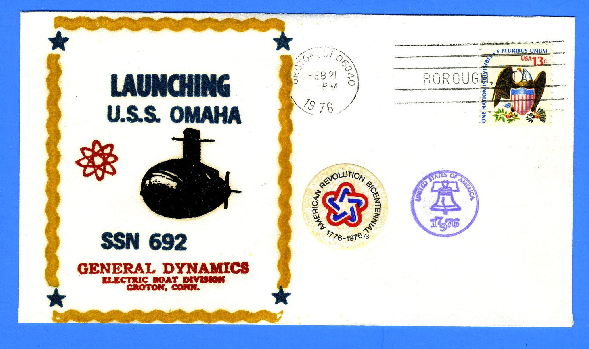 USS Omaha SSN-692 Launched February 21, 1976 - Raised Printed Thermographed Cachet by R & R Covers