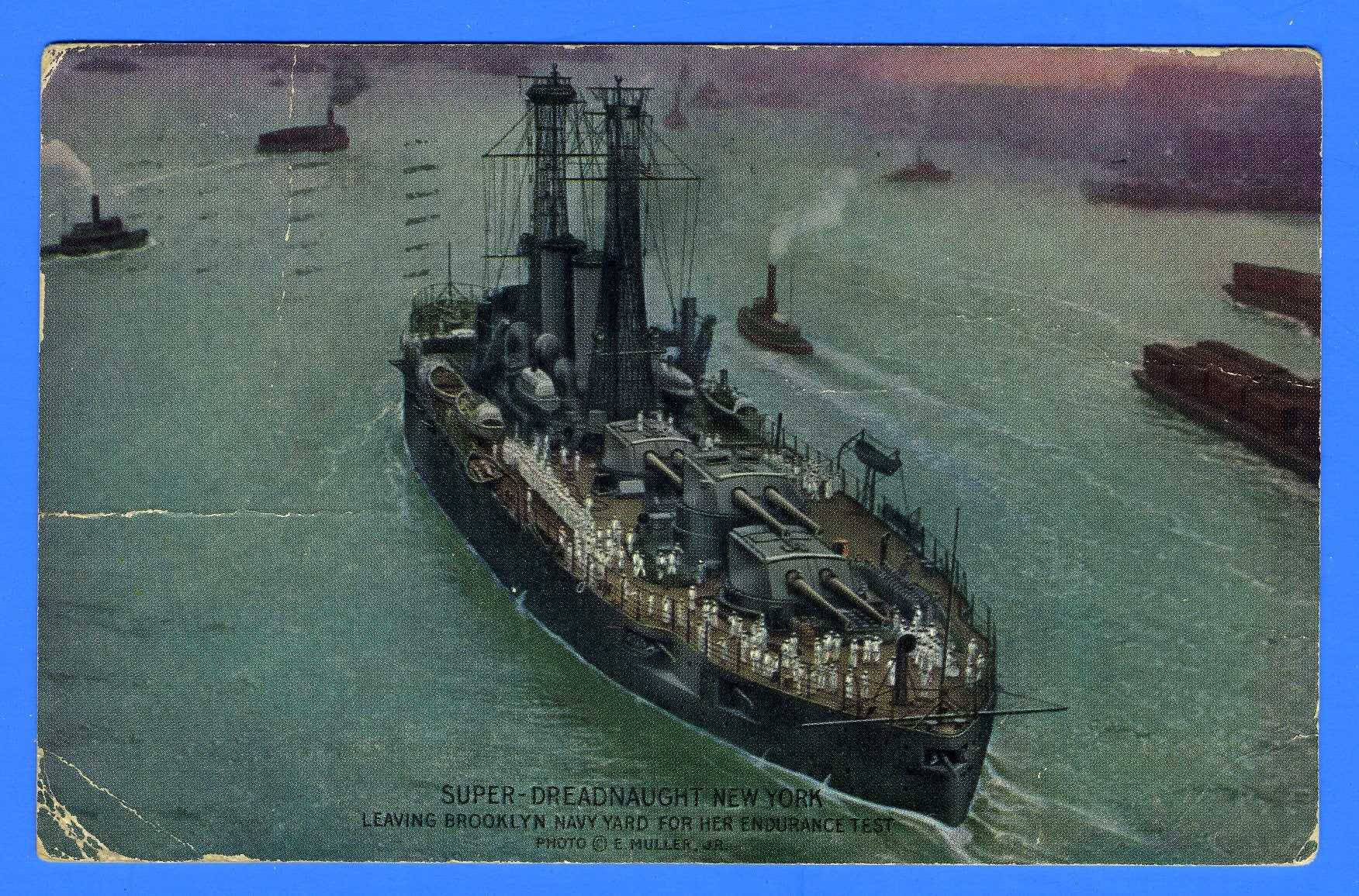 "Battleship ""Super-Dreadnought"" USS New York BB-32 - Postally Used Advertising Postcard by Enrique Muller"