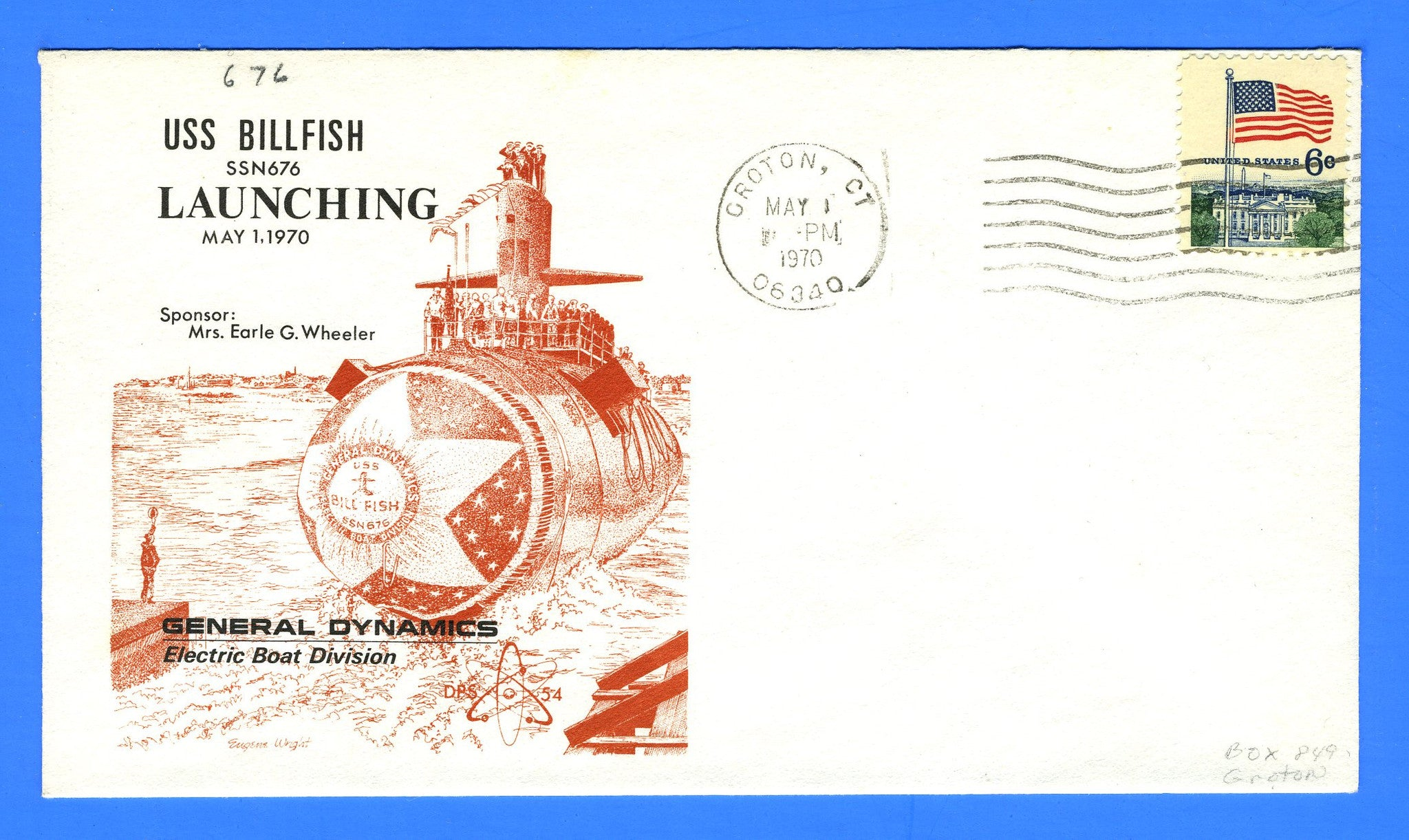 USS Billfish SSN-676 Launching May 1, 1970 - Cachet by DPS No. 54 (Dynamic Philatelic Society)