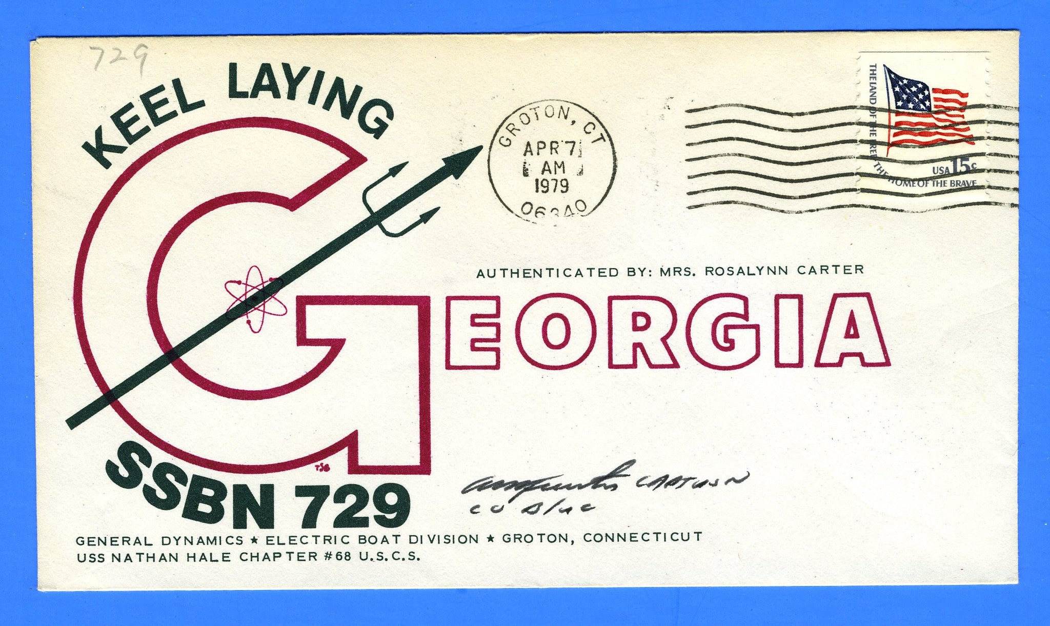 USS Georgia SSBN-729 Keel Laying April 7, 1979 - Cachet by USS Nathan Hale Chapter No. 68, USCS