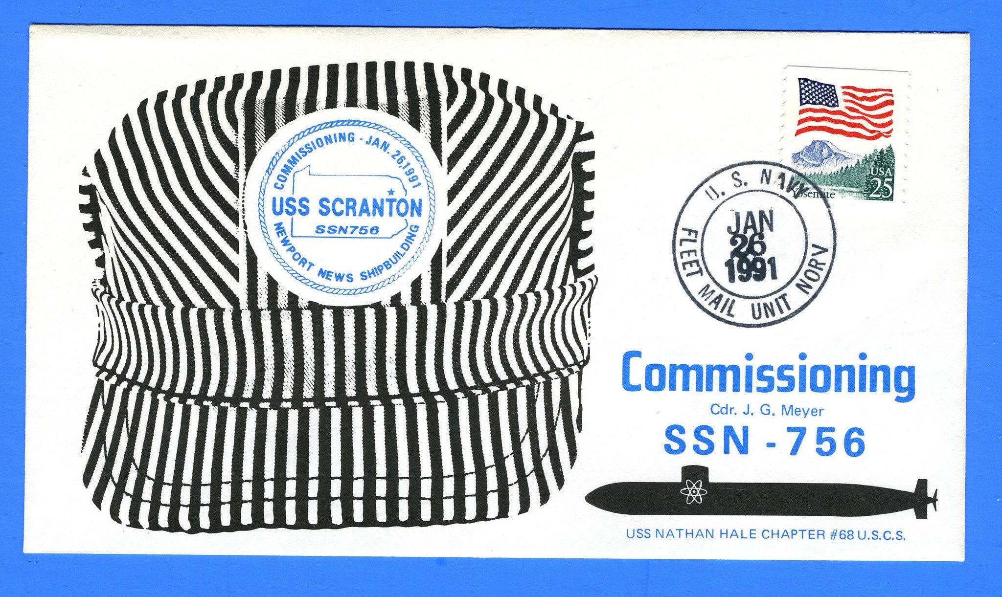 USS Scranton SSN-756 Commissioning January 26, 1991 - Cachet by USS Nathan Hale Chapter No. 68, USCS