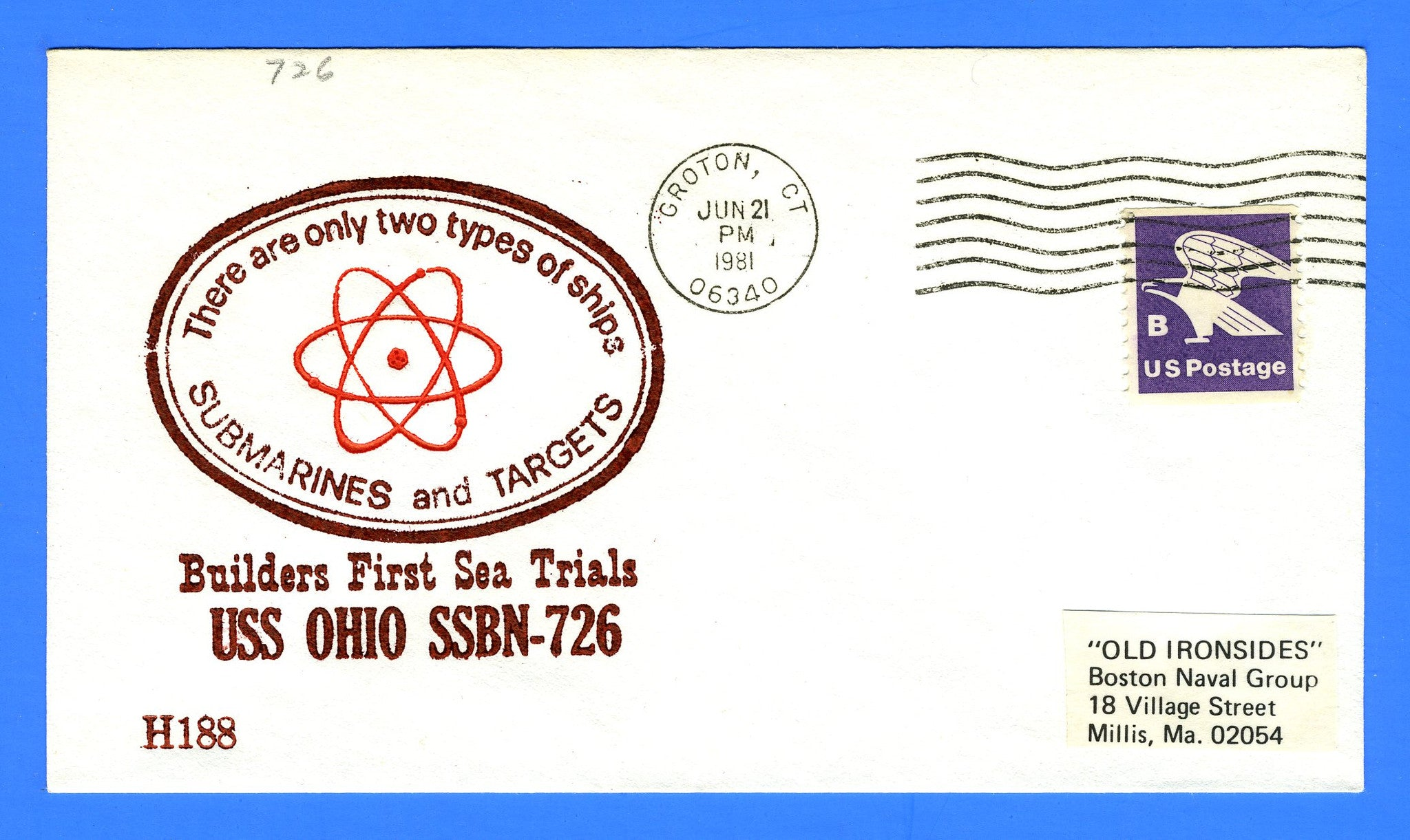 USS Ohio SSBN-726 Builders First Sea Trials June 21, 1981 - Cachet by USS Decatur Chapter No. 4, USCS