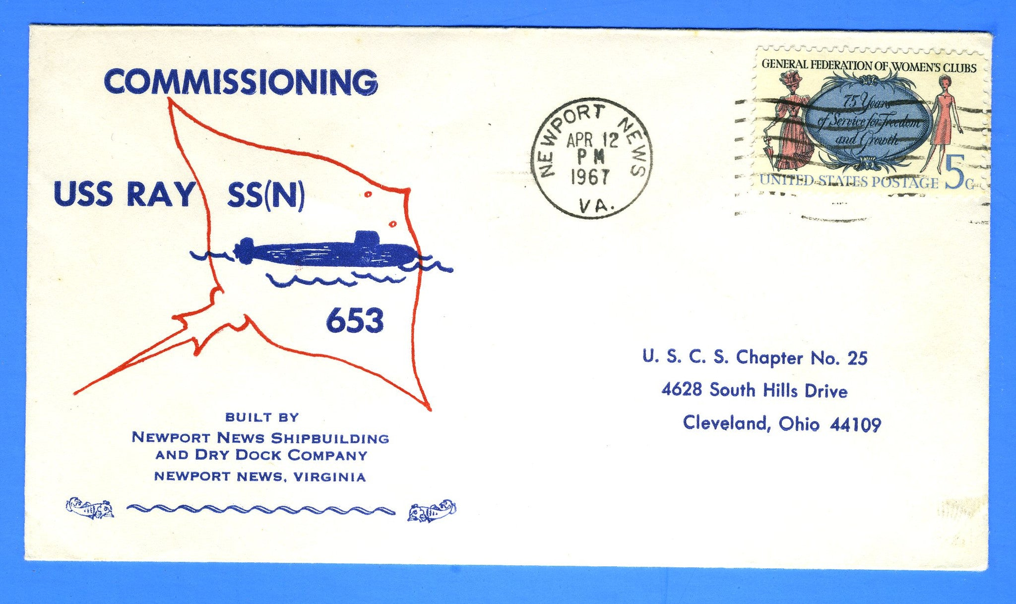 USS Ray SSN-653 Commissioning April 12, 1967