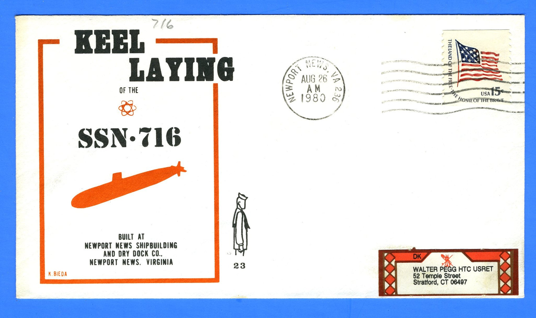 USS Salt Lake City SSN-716 Keel Laying August 26, 1980 - Cachet by Ken Bieda K/R Covers No. 23