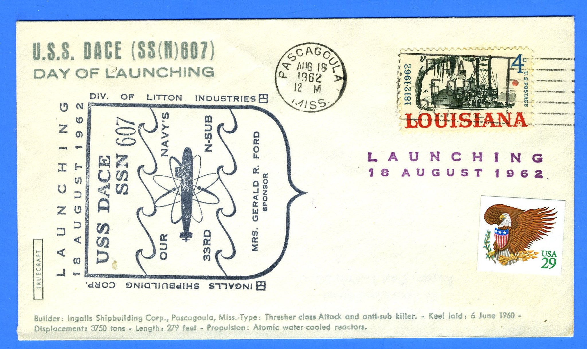 USS Dace SSN-607 Launching August 18, 1962 - Cachet by Truecraft
