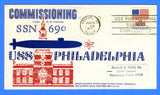 USS Philadelphia SSN-690 Commissioning June 25, 1977 - Cachet by USS Nathan Hale Chapter No. 68, USCS