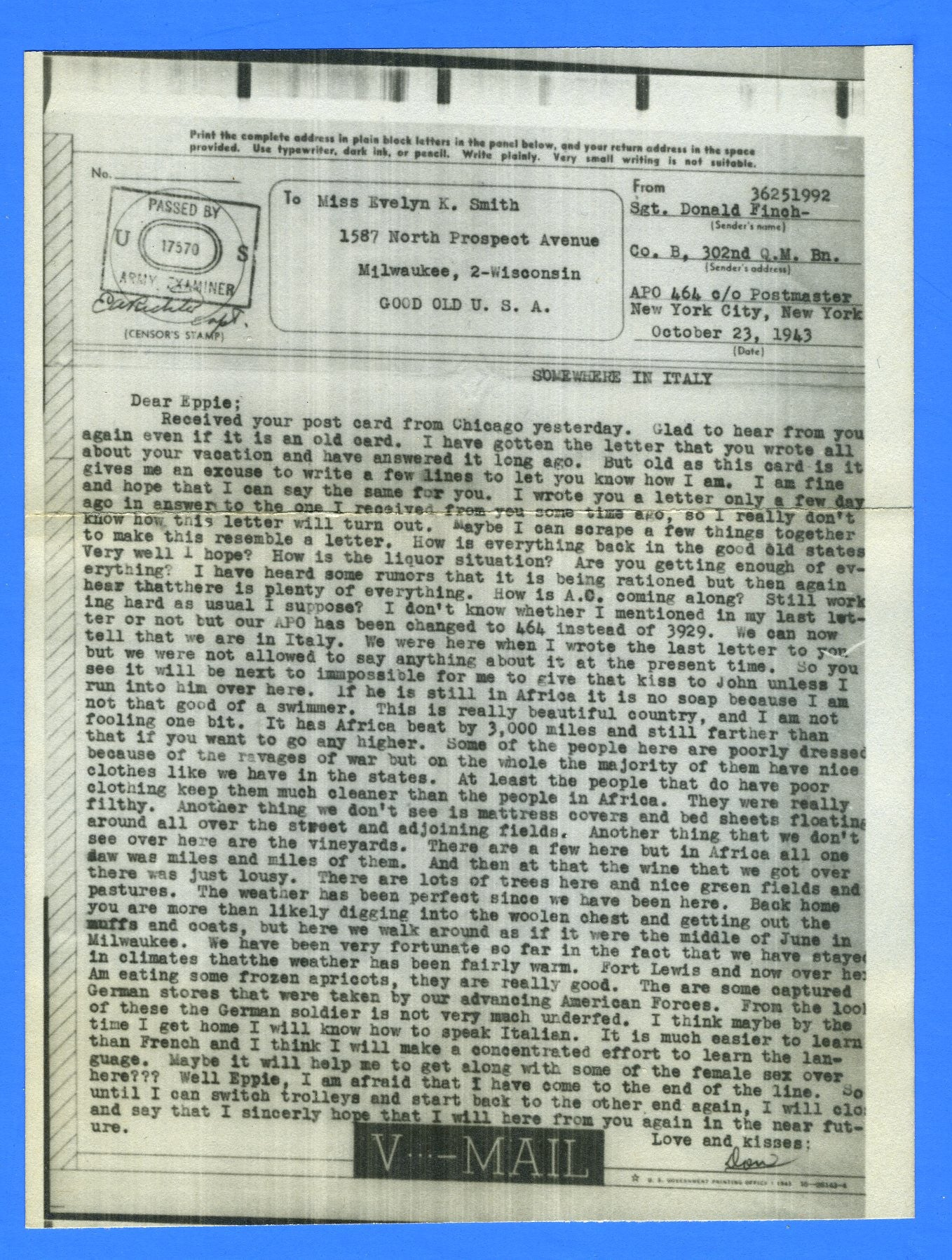 Soldier's Censored V Mail APO 464 Caserta, Italy October 23, 1943