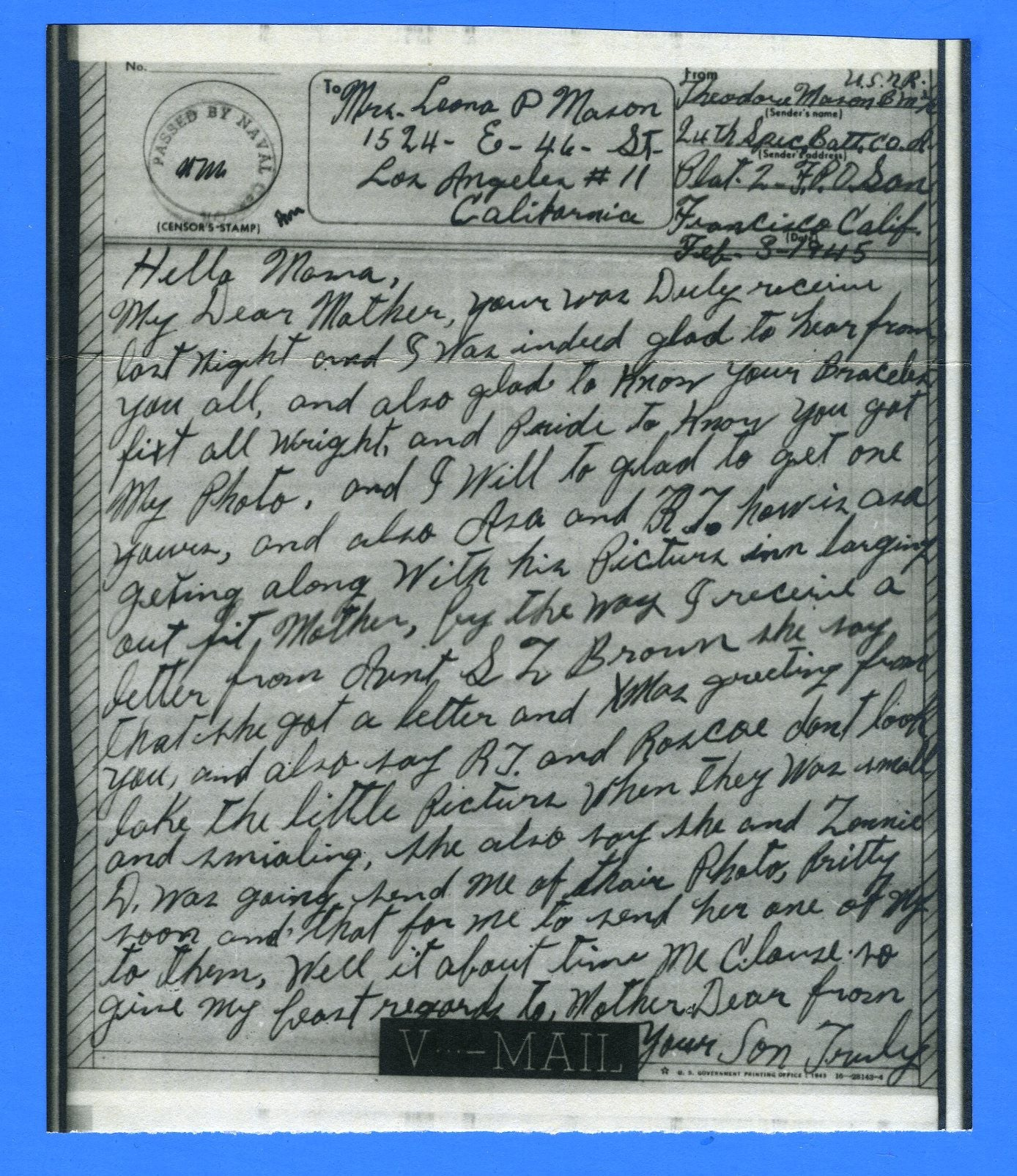 Seabee's Censored V Mail 24th Naval Construction Battalion Milne Bay, New Guinea February 3, 1945