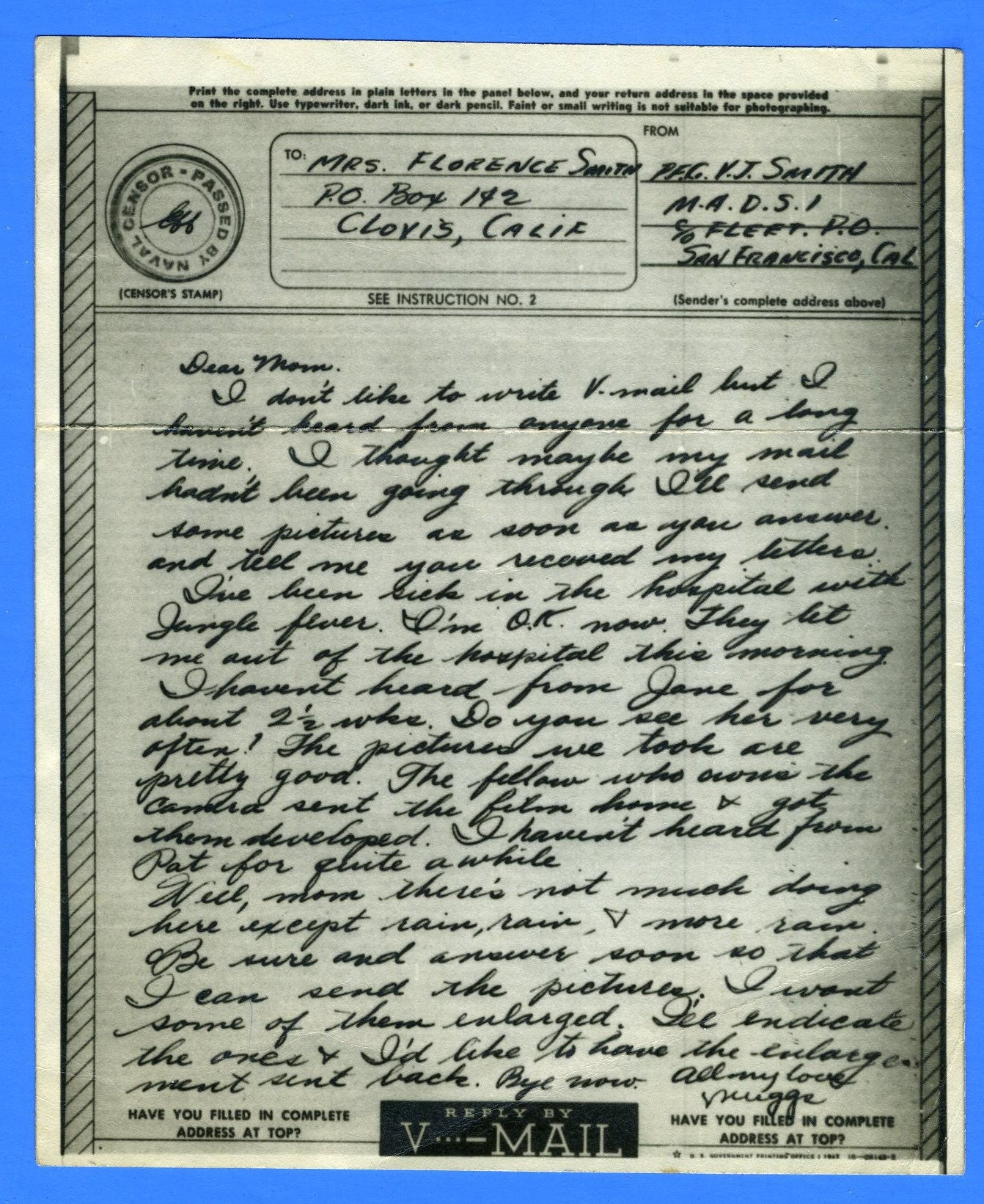 Marine's Censored V Mail Marine Aviation Detachment 1 (MADS) July 13, 1944