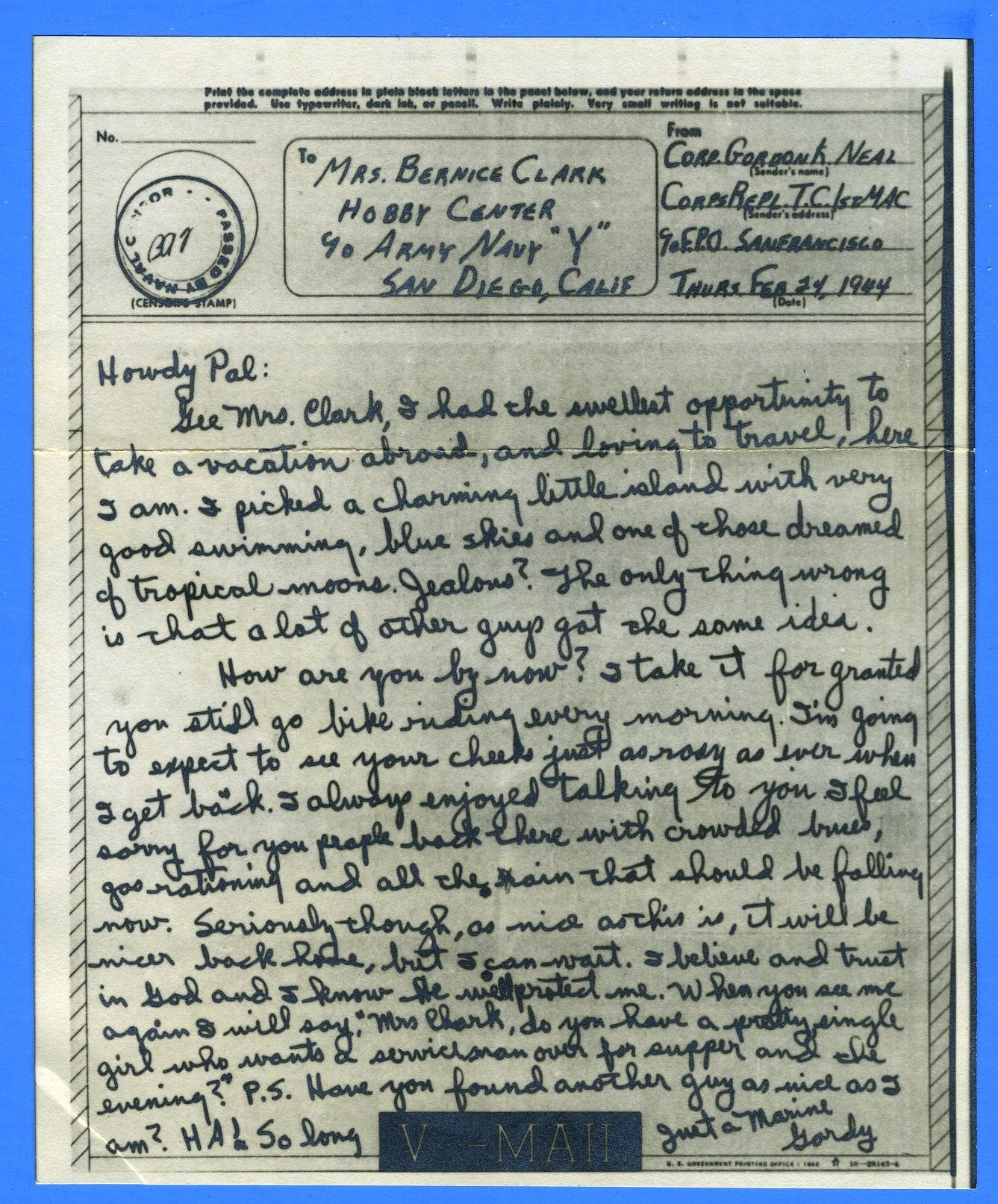 Marine's Censored V Mail Corps Replacement Transient Center Noumea, New Guinea February 24, 1944