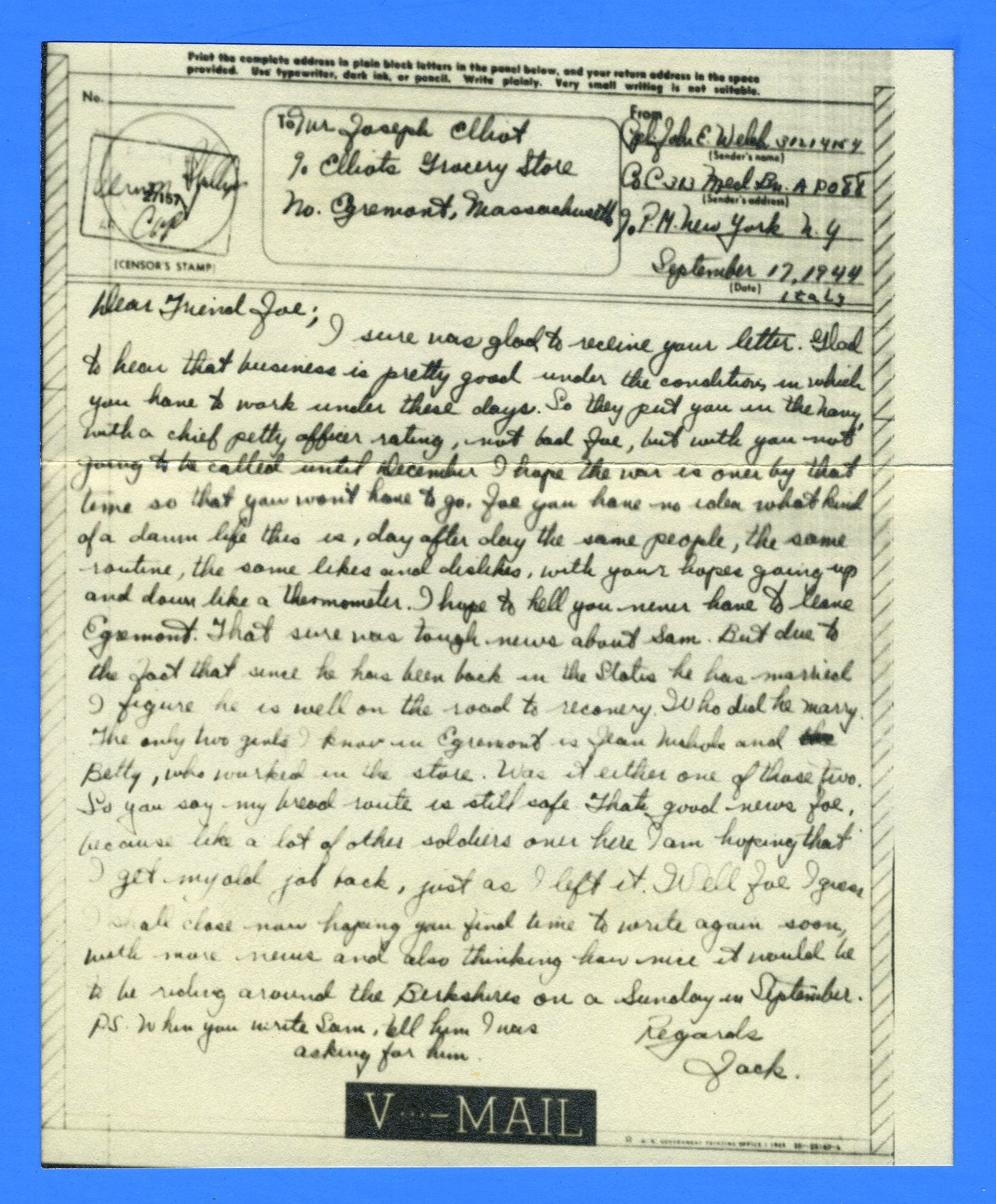 Soldier's Censored V Mail APO 88 Florence, Italy September 17, 1944