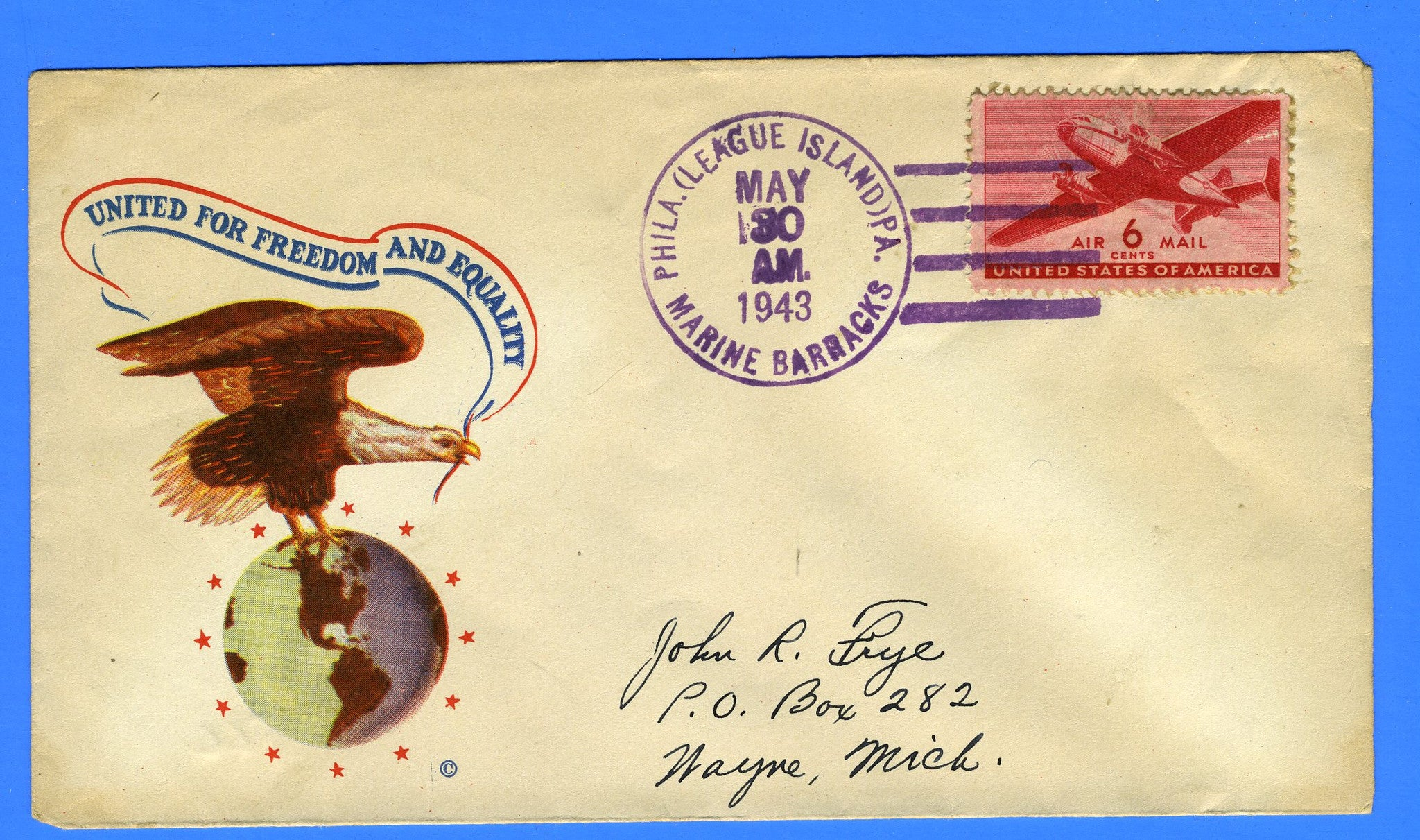 Marine Barracks League Island Memorial Day May 30, 1943 - Minkus Patriotic Cover