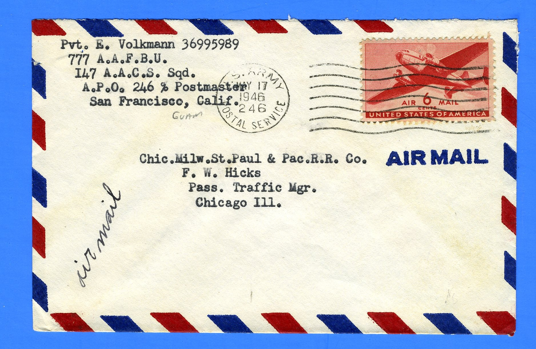 Soldier's Mail APO 246 Guam, Marianas May 17, 1946