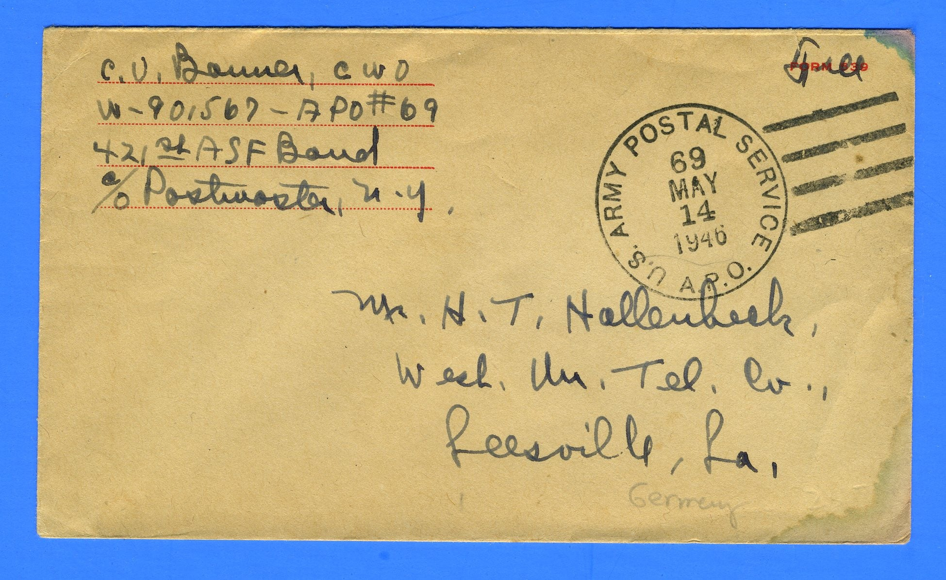 "Soldier's Censored ""Free"" Mail APO 69 Bremerhaven, Germany May 14, 1946"