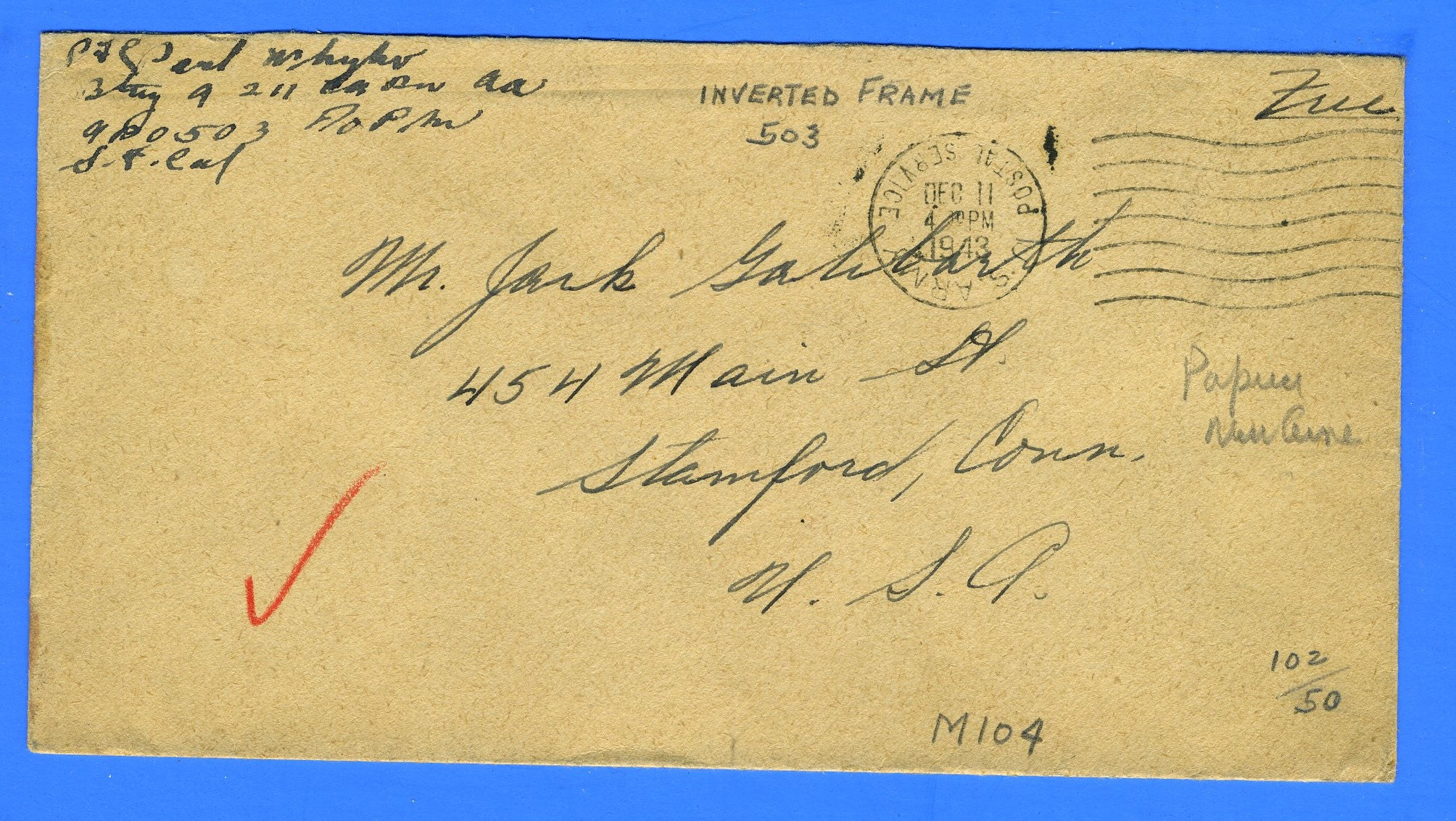 "Soldier's ""Free"" Mail APO 503 Oro Bay, Papua, New Guinea December 11, 1943"