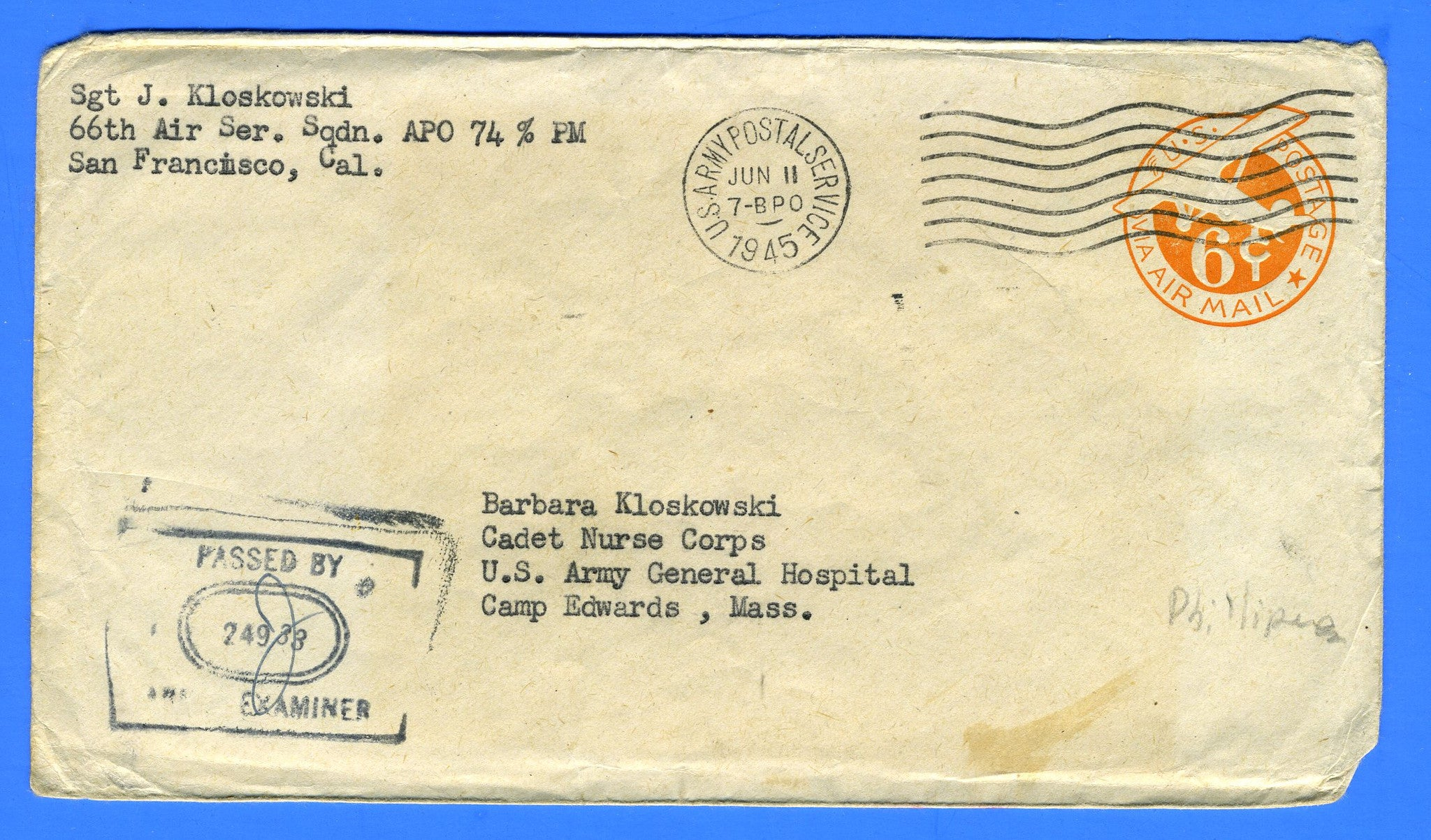 Soldier's Censored Mail APO 74 Clark Field, Luzon, Philippines May 19, 1945