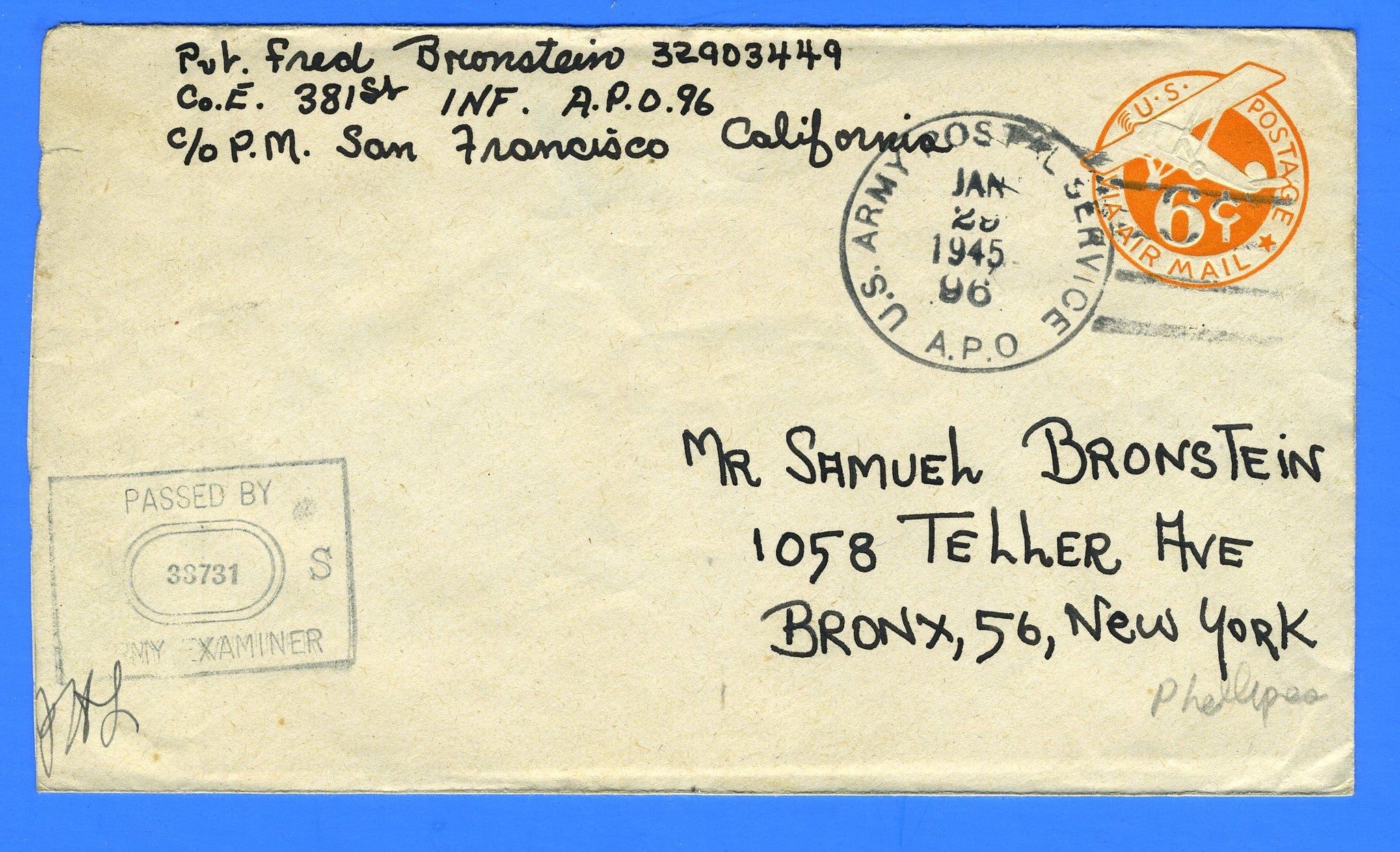 Soldier's Censored Mail APO 96 Leyte, Philippines January 29, 1945