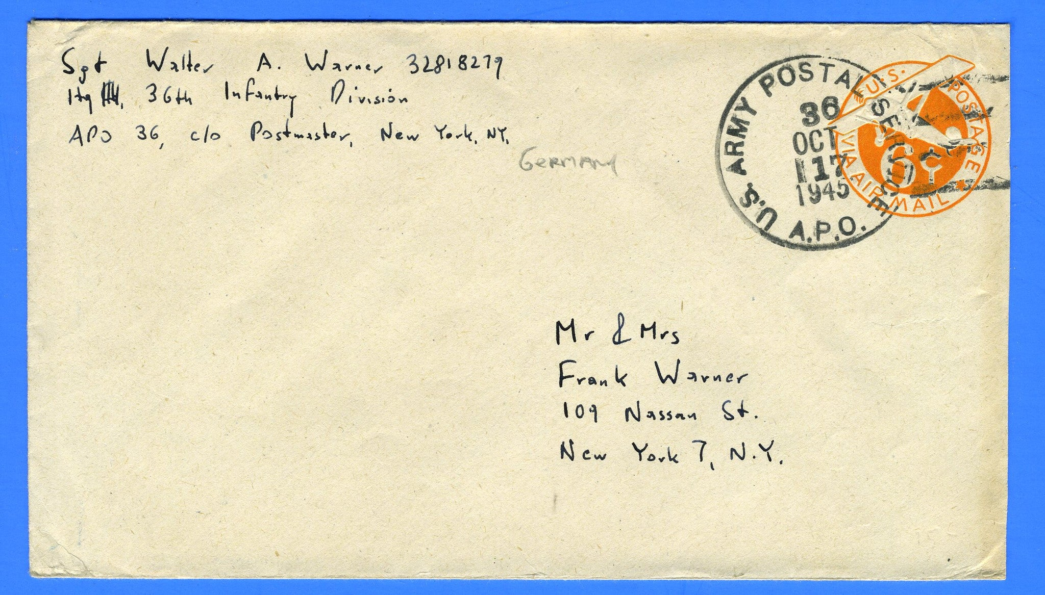 Soldier's Mail APO 36 Geislingen, Germany October 17, 1945