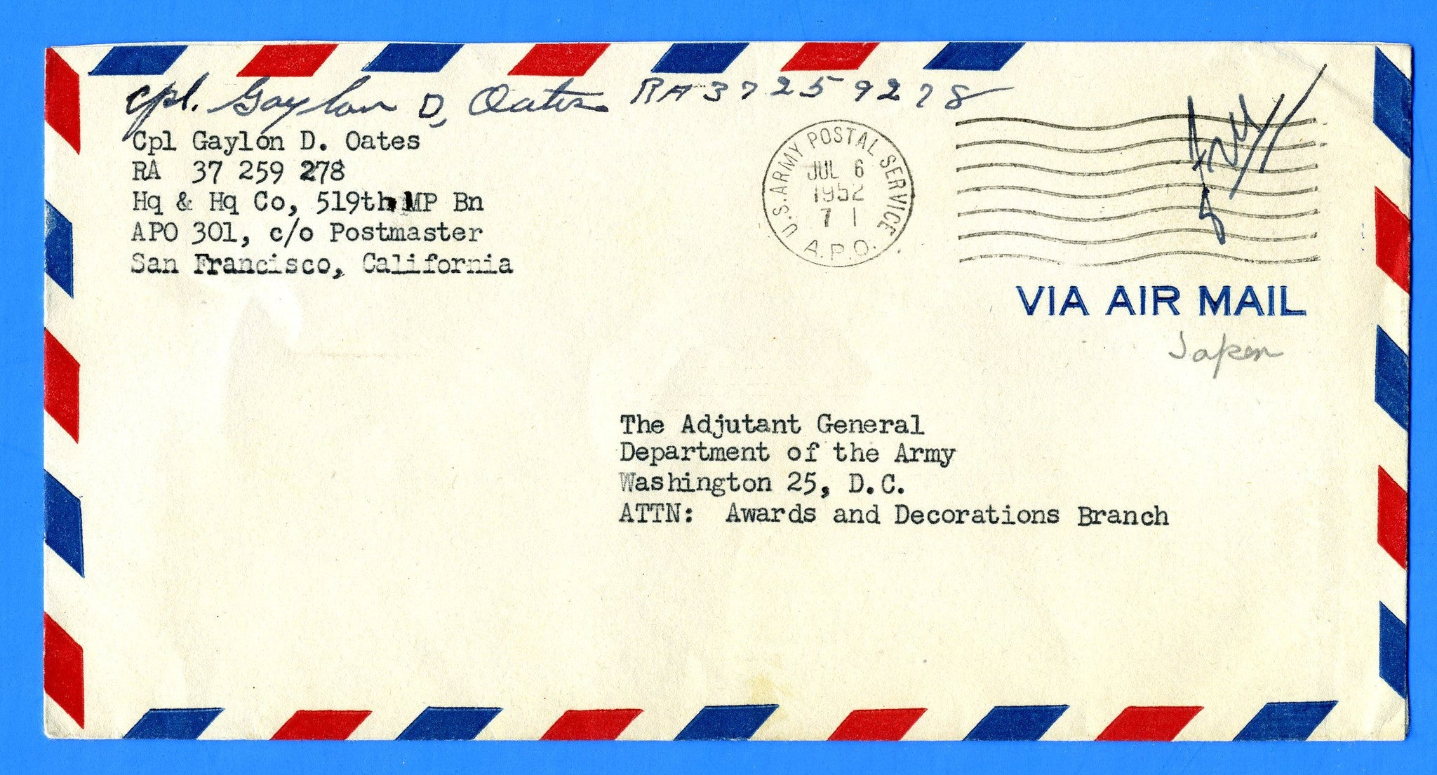 "Soldier's ""Free"" Mail APO 301 Kyote, Japan July 6, 1952"
