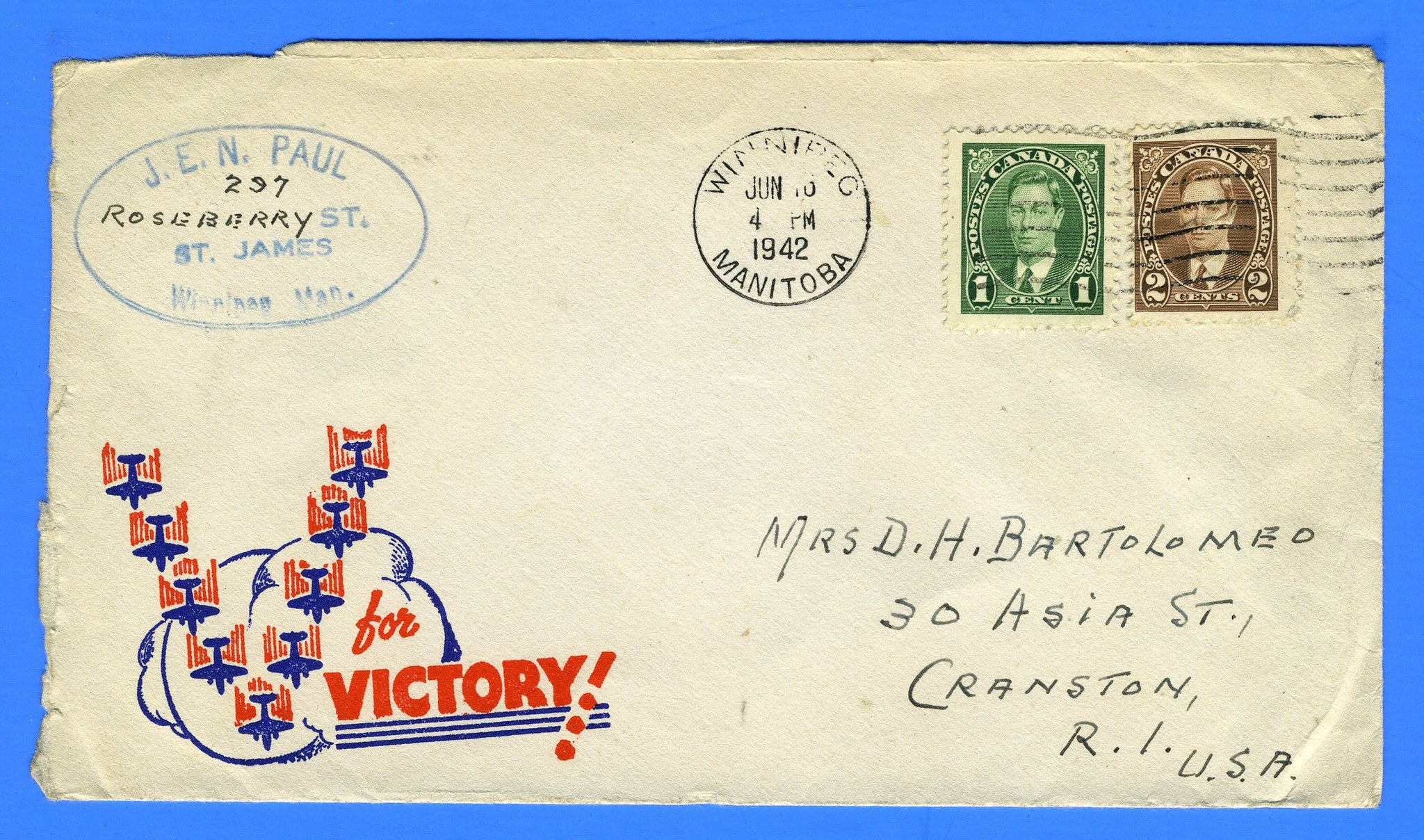 Canada - Patriotic Cover Winnipeg Manitoba June 1944 to U.S.A.