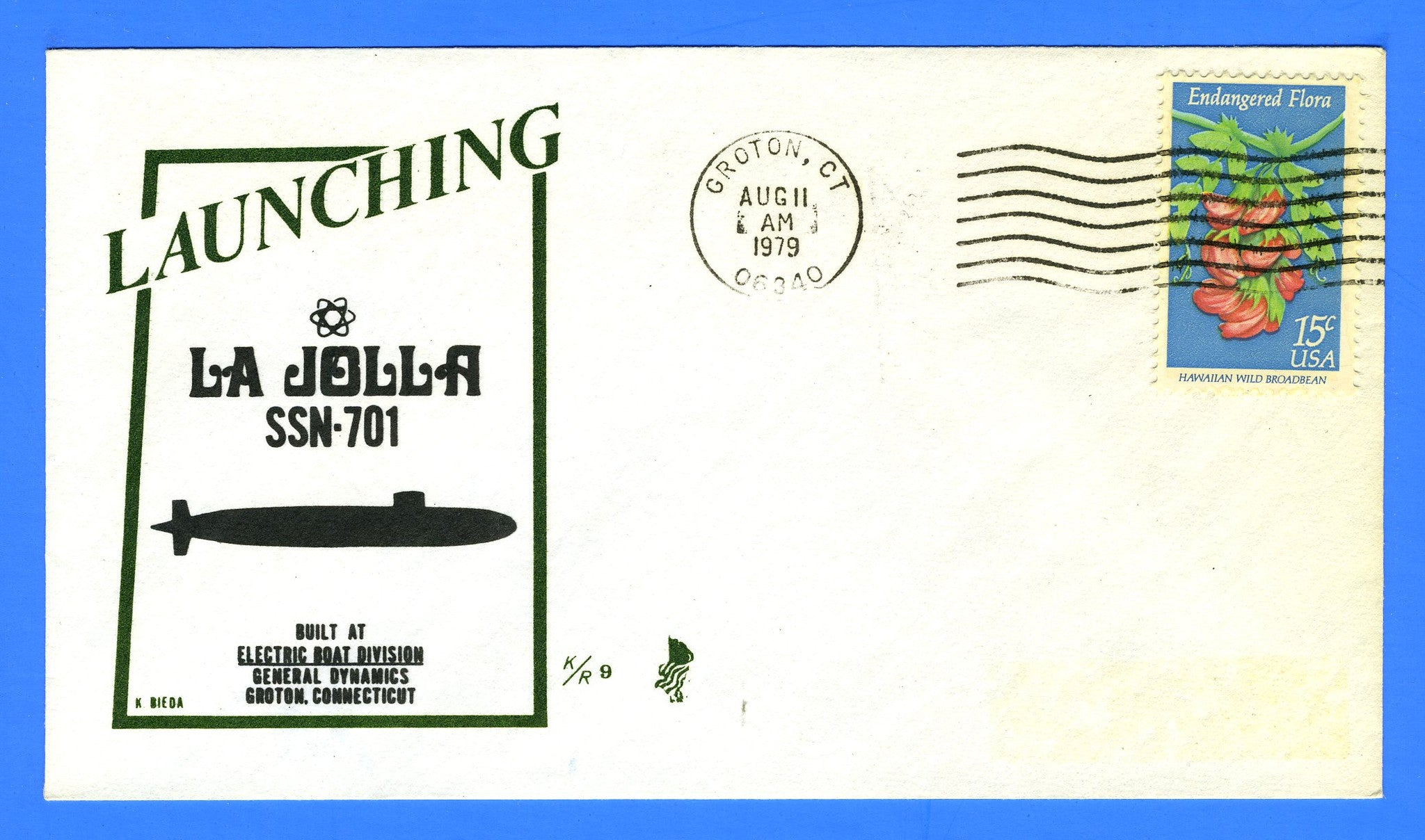 USS La Jolla SSN-701 Launched August 11, 1979 - Cachet by Ken Bieda K/R Covers