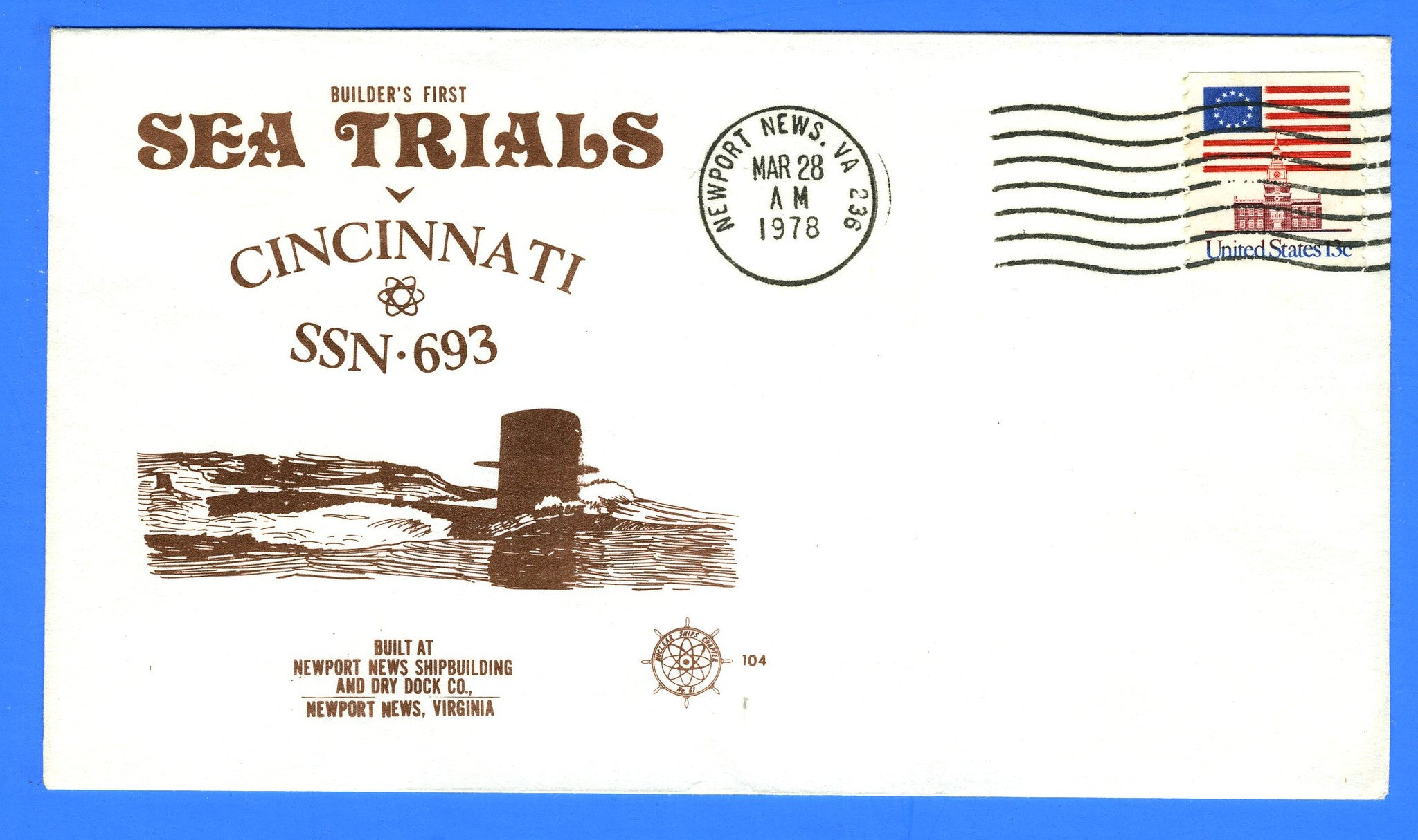 USS Cincinnati SSN-693 First Sea Trials March 28, 1978 - Cachet Maker USCS Chapter 61 Nuclear Ships