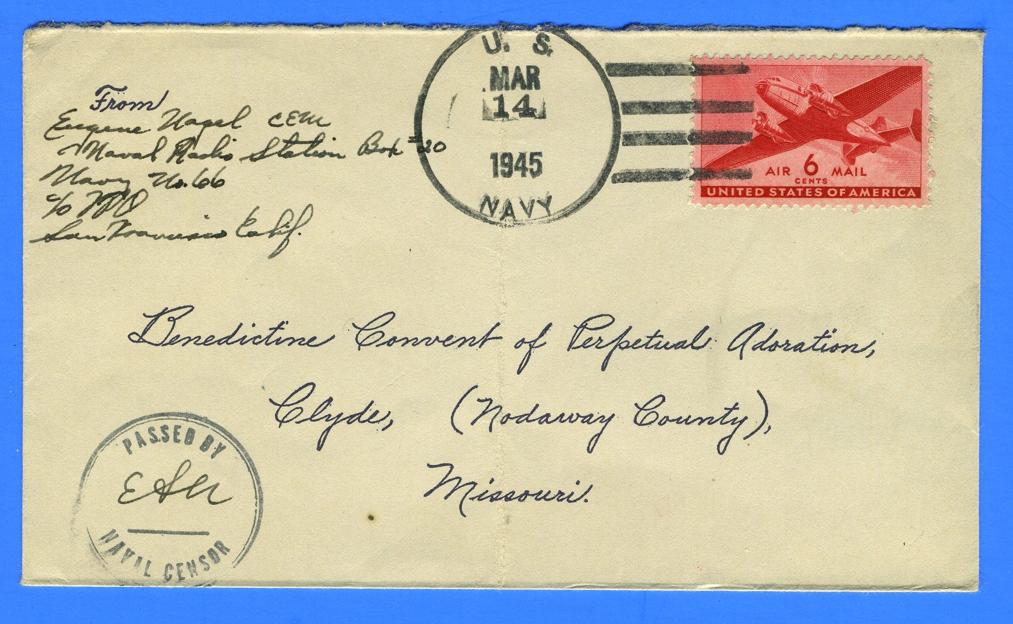 Sailor's Censored Mail Navy No. 66 Naval Radio Station Lualualei, Oahu, T.H. March 14, 1945