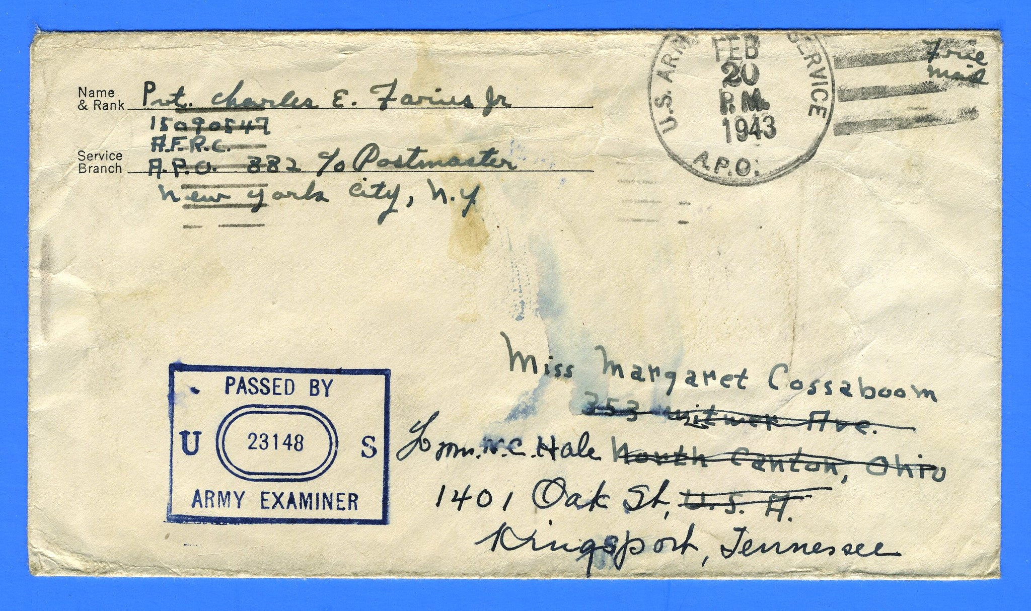 "Soldier's Censored ""Free"" Mail APO 882 Karachi, India February 20, 1943"