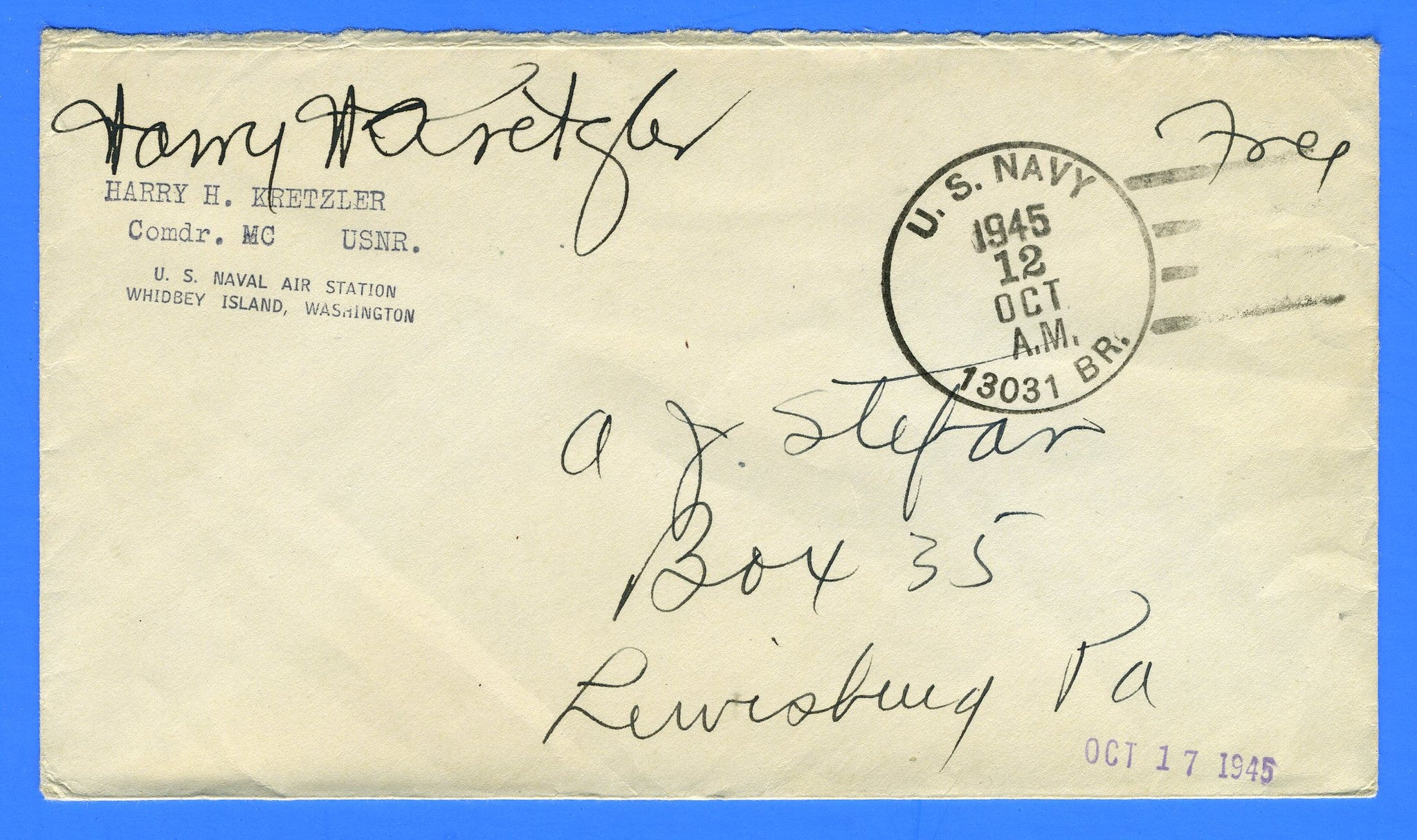 "Commander Signed ""Free"" Mail U.S. Navy 13031 Br. Naval Air Station, Whidbey Island, Washington October 12, 1945"