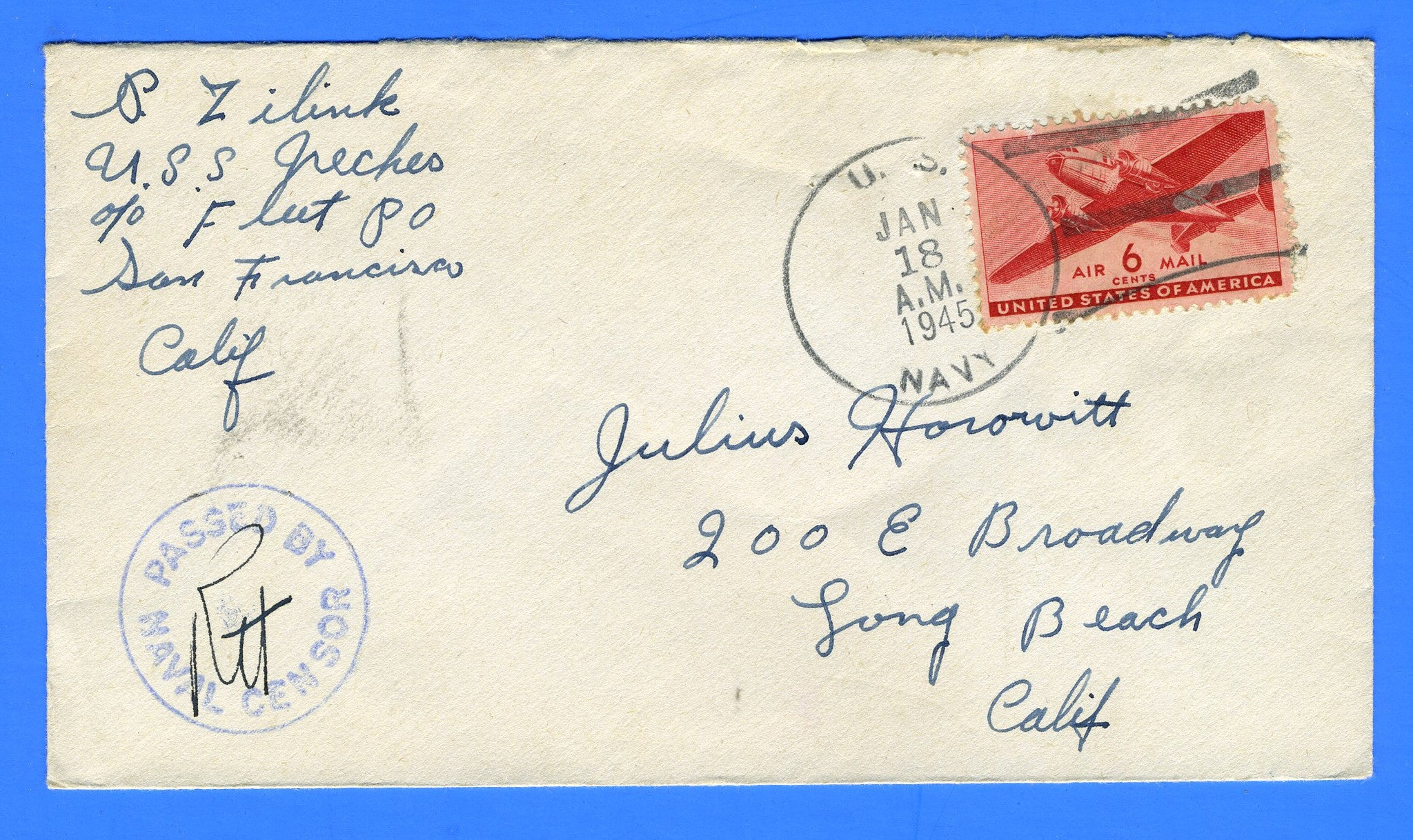 USS Neches AO-47 Sailor's Censored Mail January 18, 1945