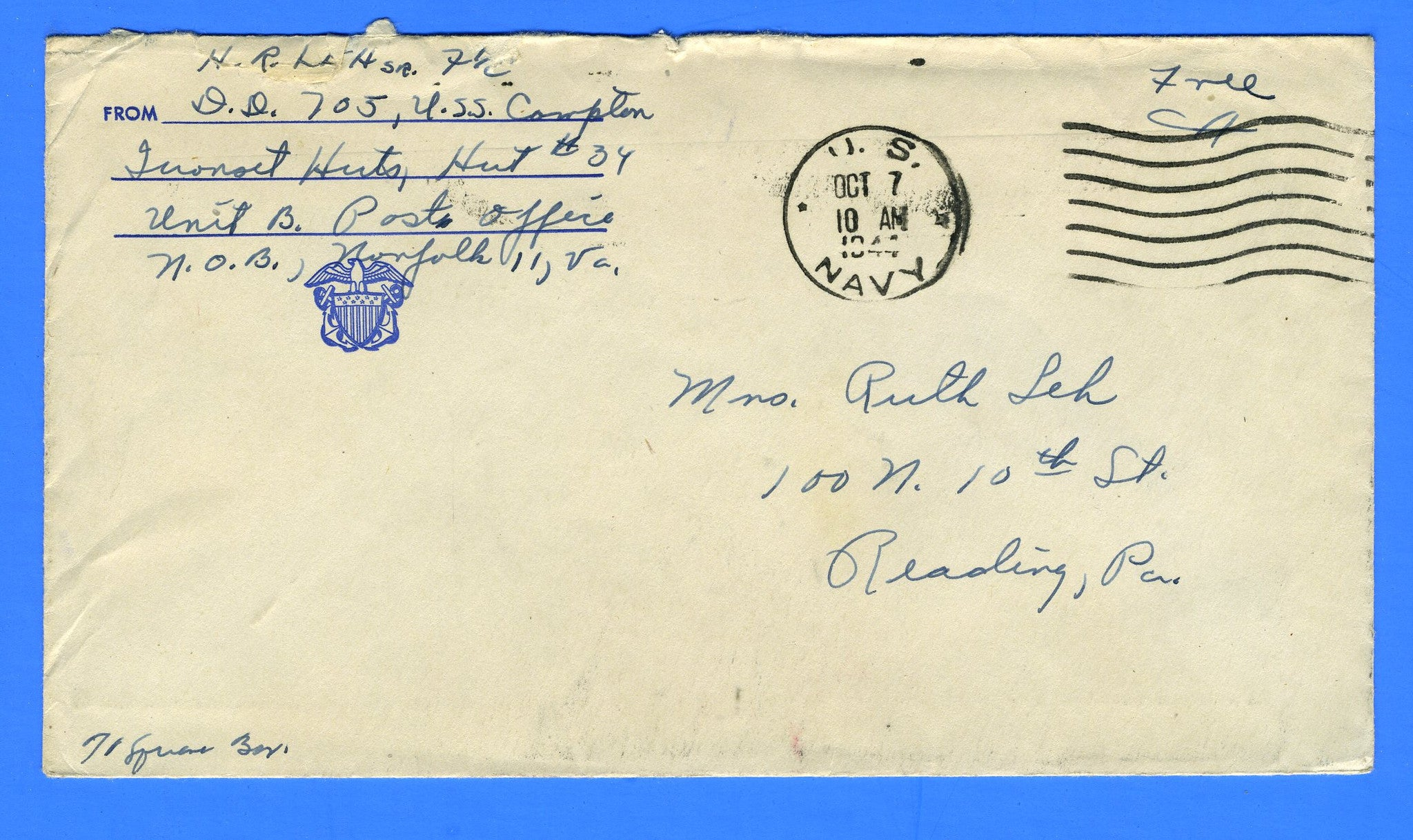 "USS Compton DD-705 Sailor's Censored Mail ""Free"" October 7, 1944 - Prior to Commission on November 4, 1944"