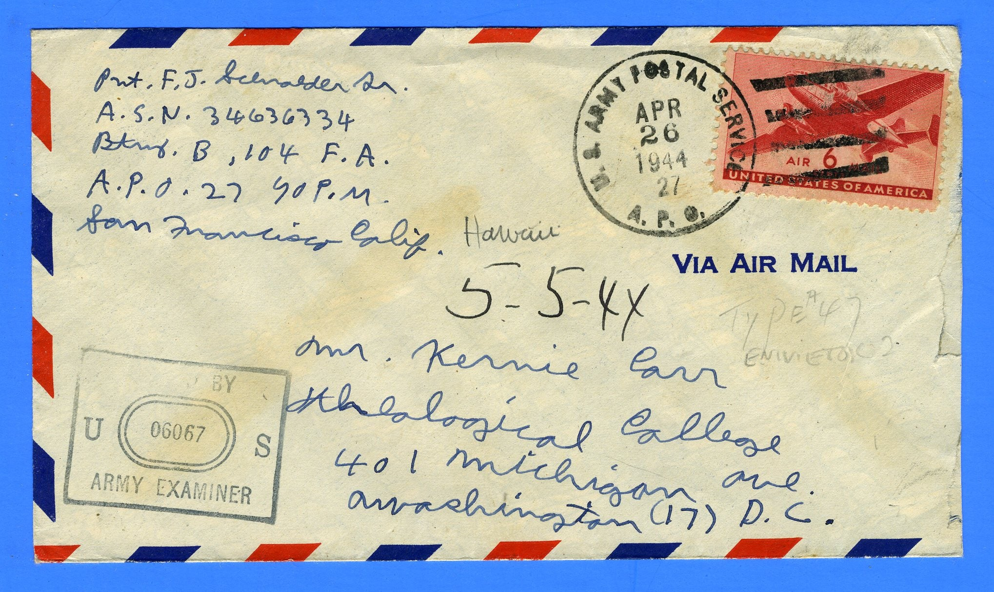 Soldier's Censored Mail APO 27 Eniwetok, Marshall Islands April 26, 1944