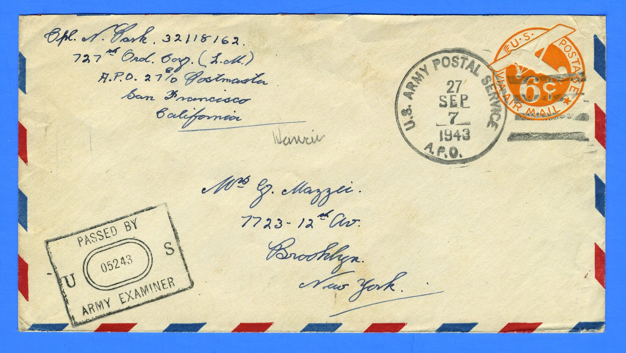 Soldier's Censored Mail APO 27 Schofield Barracks, Oahu, Territory of Hawaii September 27, 1943