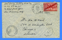 USS LSM-35 Sailor's Censored Mail Postmarked APO 716 Cebu, P.I. April 18, 1945