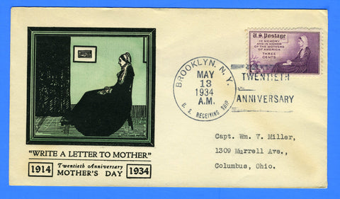 Scott #537 or 538 - U.S Receiving Ship (USS Seattle) 20th Anniversary Mothers Day May 13, 1934 - First Day of Issue of Scott 537-38 was May 2, 1934
