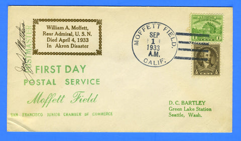 Moffett Field, Calif First Day Postal Service Sept 1, 1933