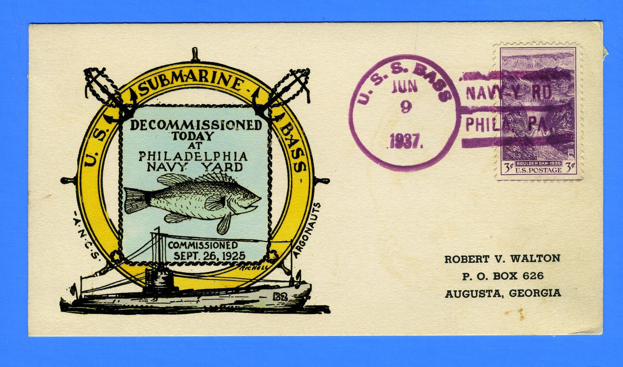 USS Bass SS-164 Decommission June 9, 1937 - Raised Print Hand Colored on Card