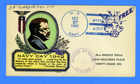 U.S. Navy Censored Navy Day Oct 27, 1942 - Hand Colored Card