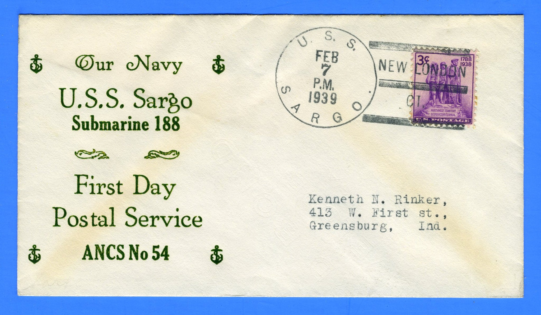 USS Sargo SS-188 First Day Postal Service & Commissioning February 7, 1939