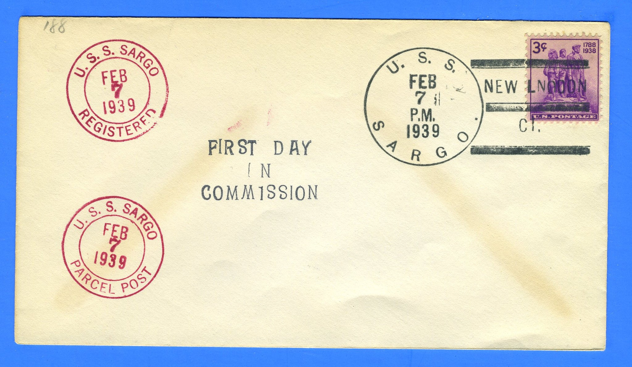 USS Sargo SS-188 Commissioned & Cancel Sampler Feb 7, 1939