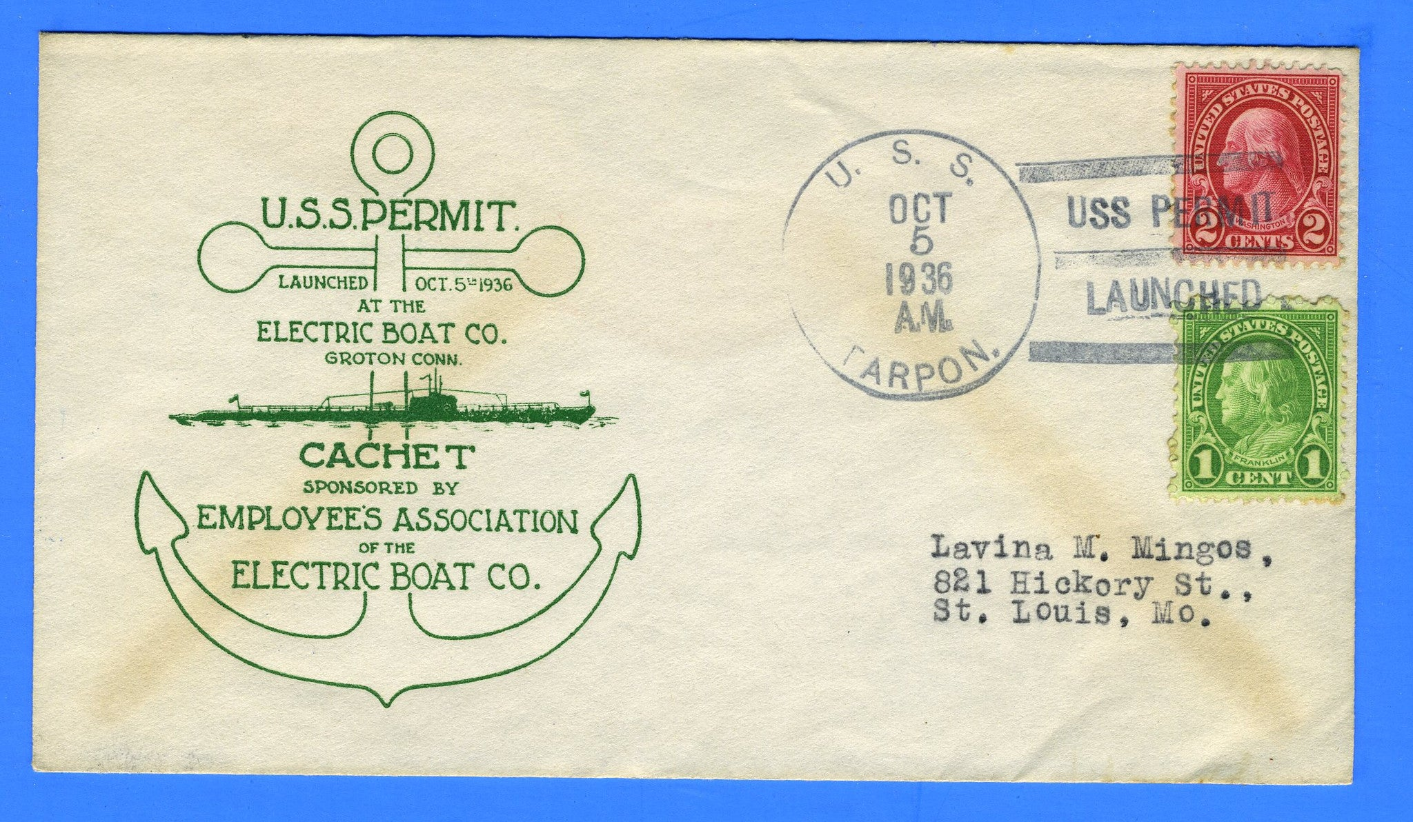 USS Permit SS-178 Launched Oct 5, 1936 - USS Tarpon Cancel