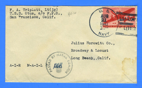 USS Otus AS-20 Sailor's Censored Mail August 21, 1943