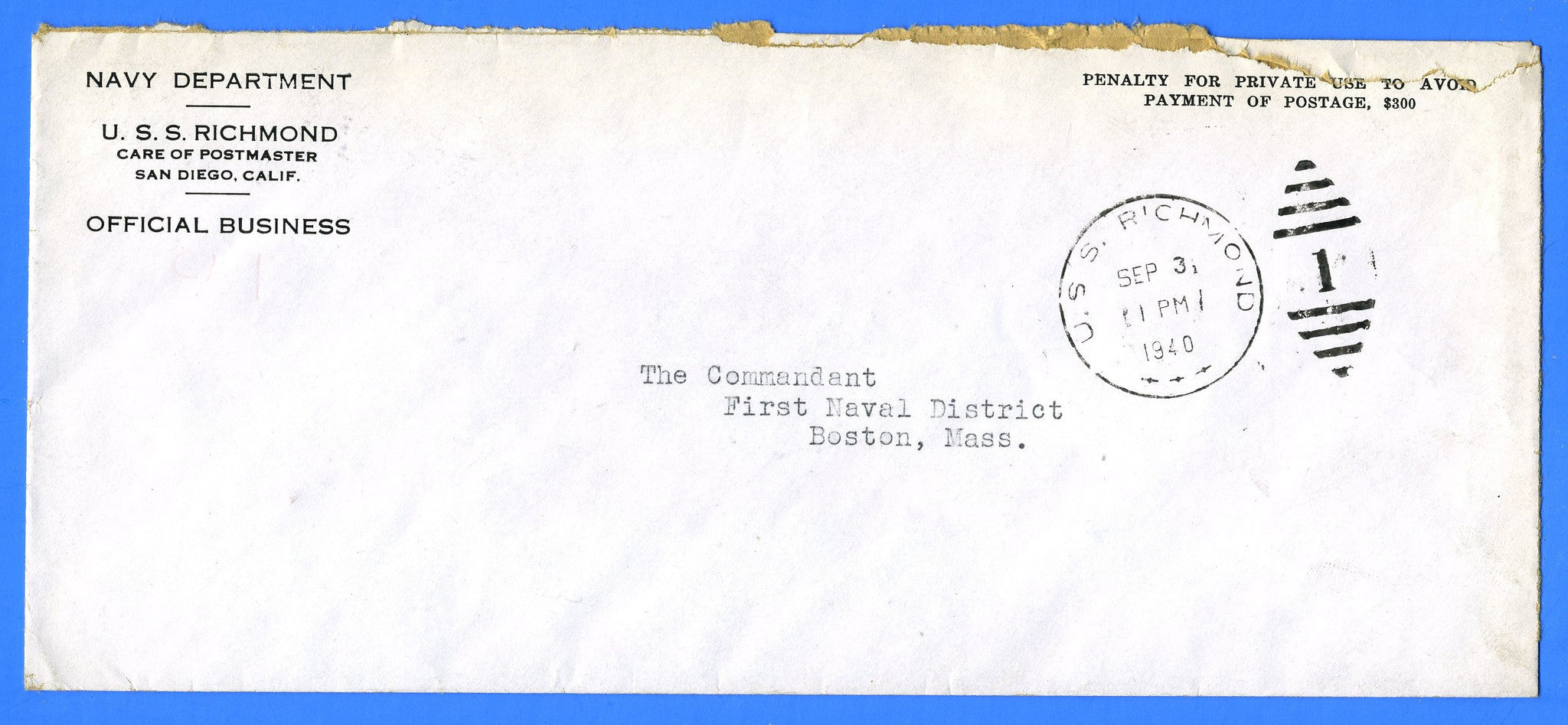USS Richmond CL-9 Official Mail September 3, 1940