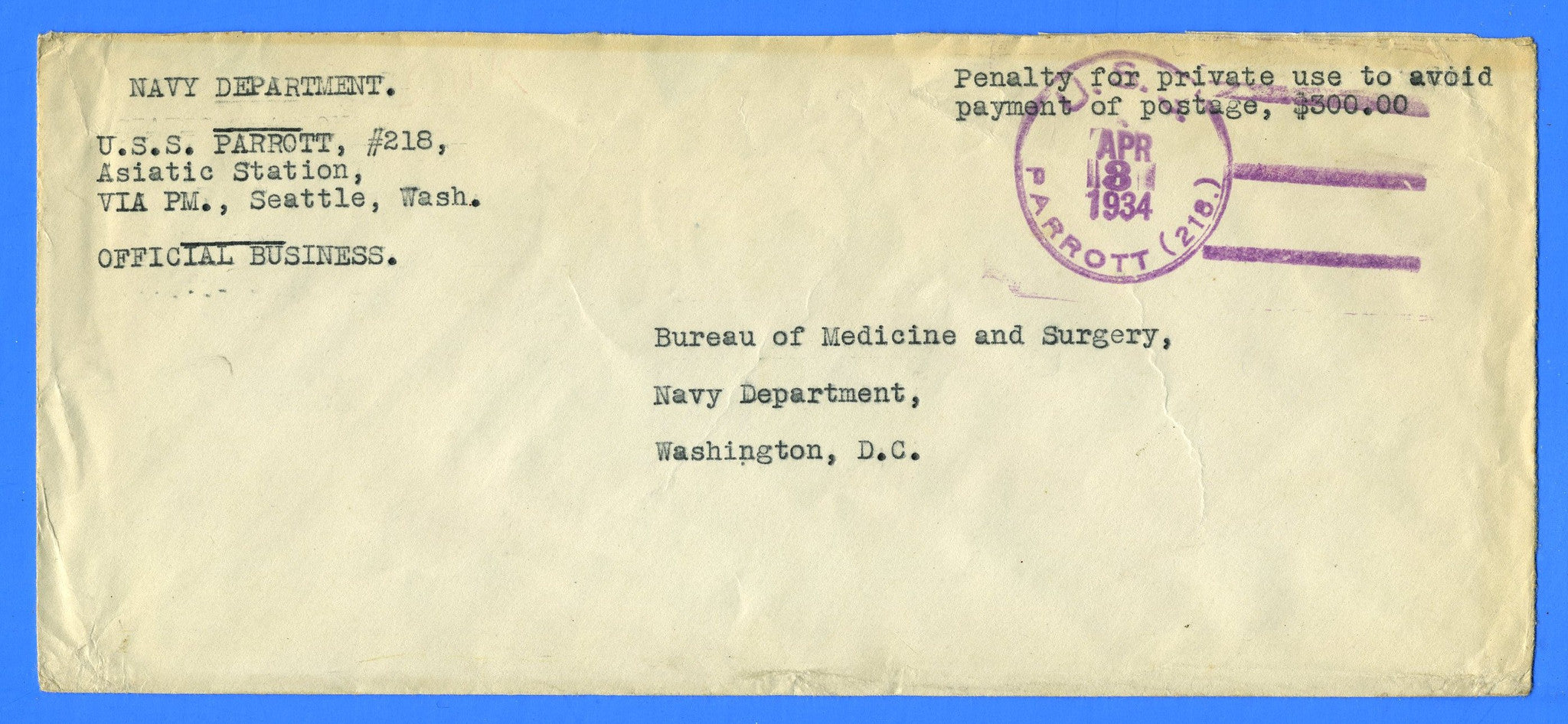 USS Parrott DD-218 Official Mail Asiatic Station Apr 3, 1934