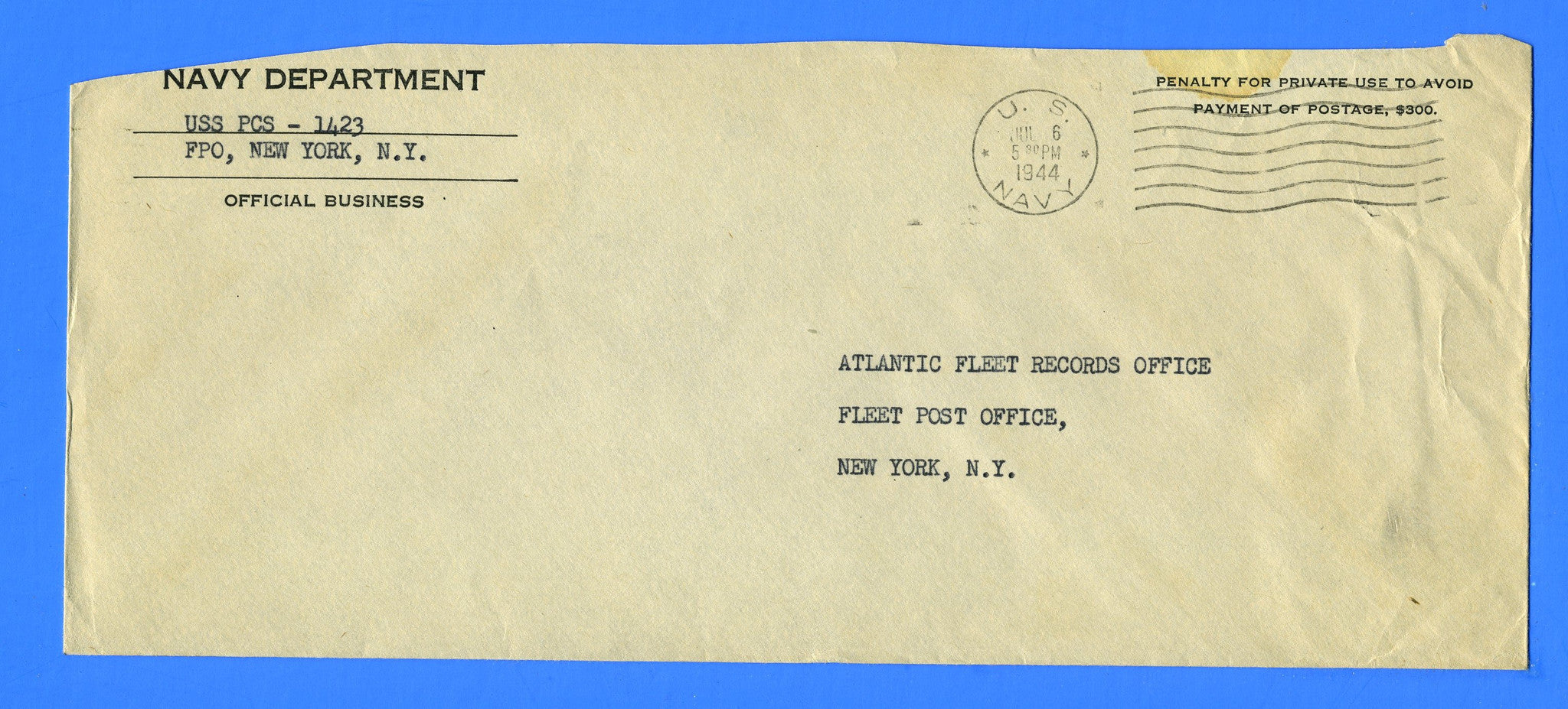 Patrol Craft Sweeper USS PCS-1423 Official Mail July 6, 1944