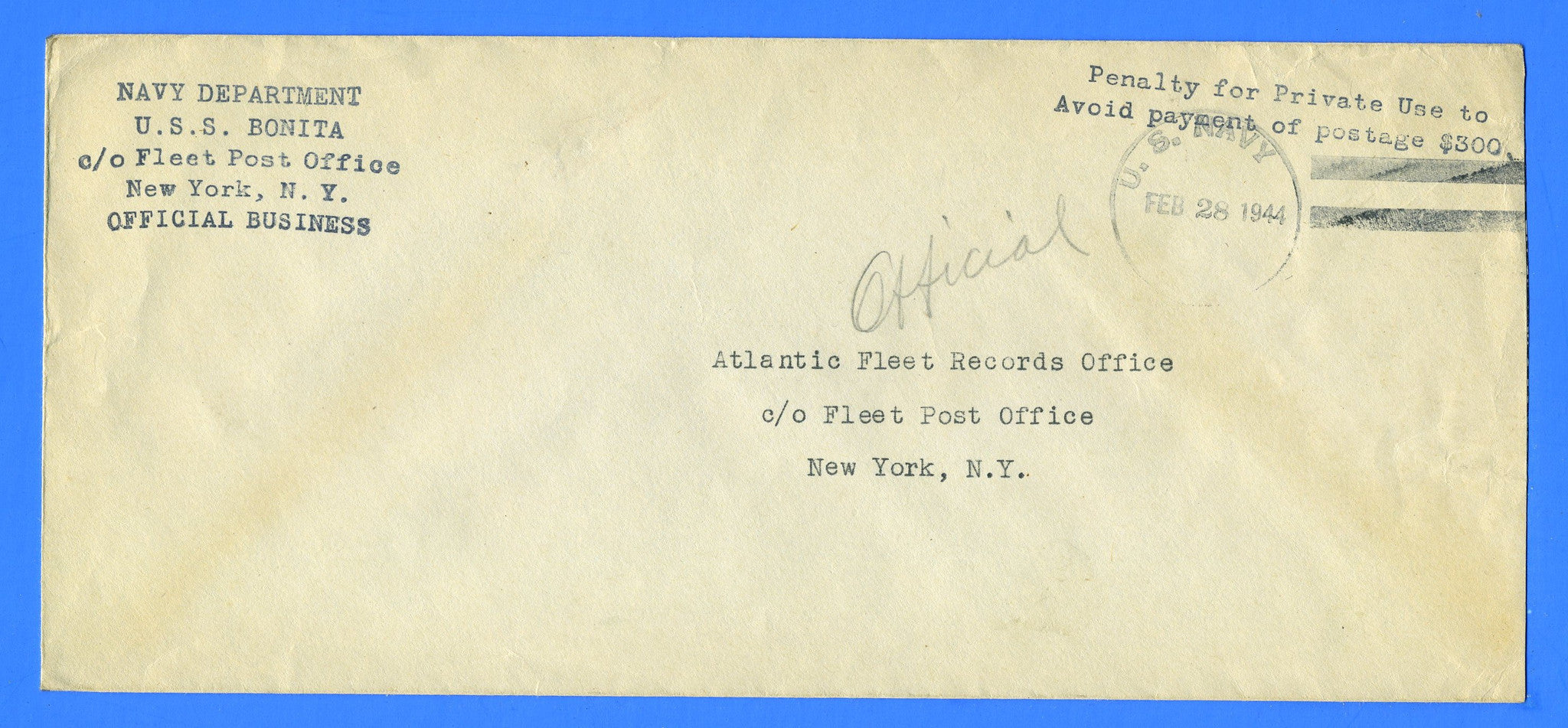 USS Bonita SS-165 Official Mail February 28, 1944